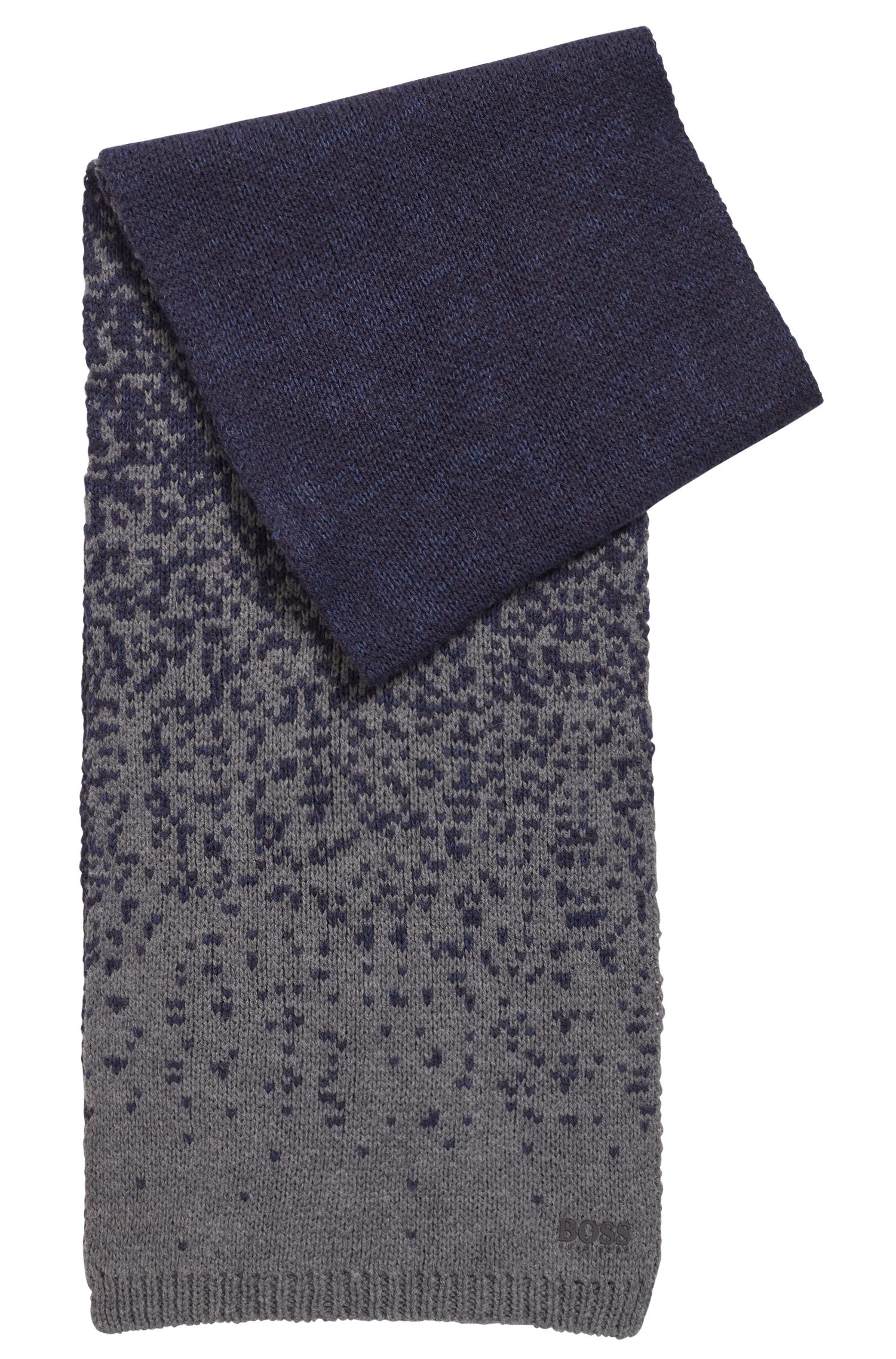 Two-tone scarf in a sustainable bamboo blend, Dark Blue