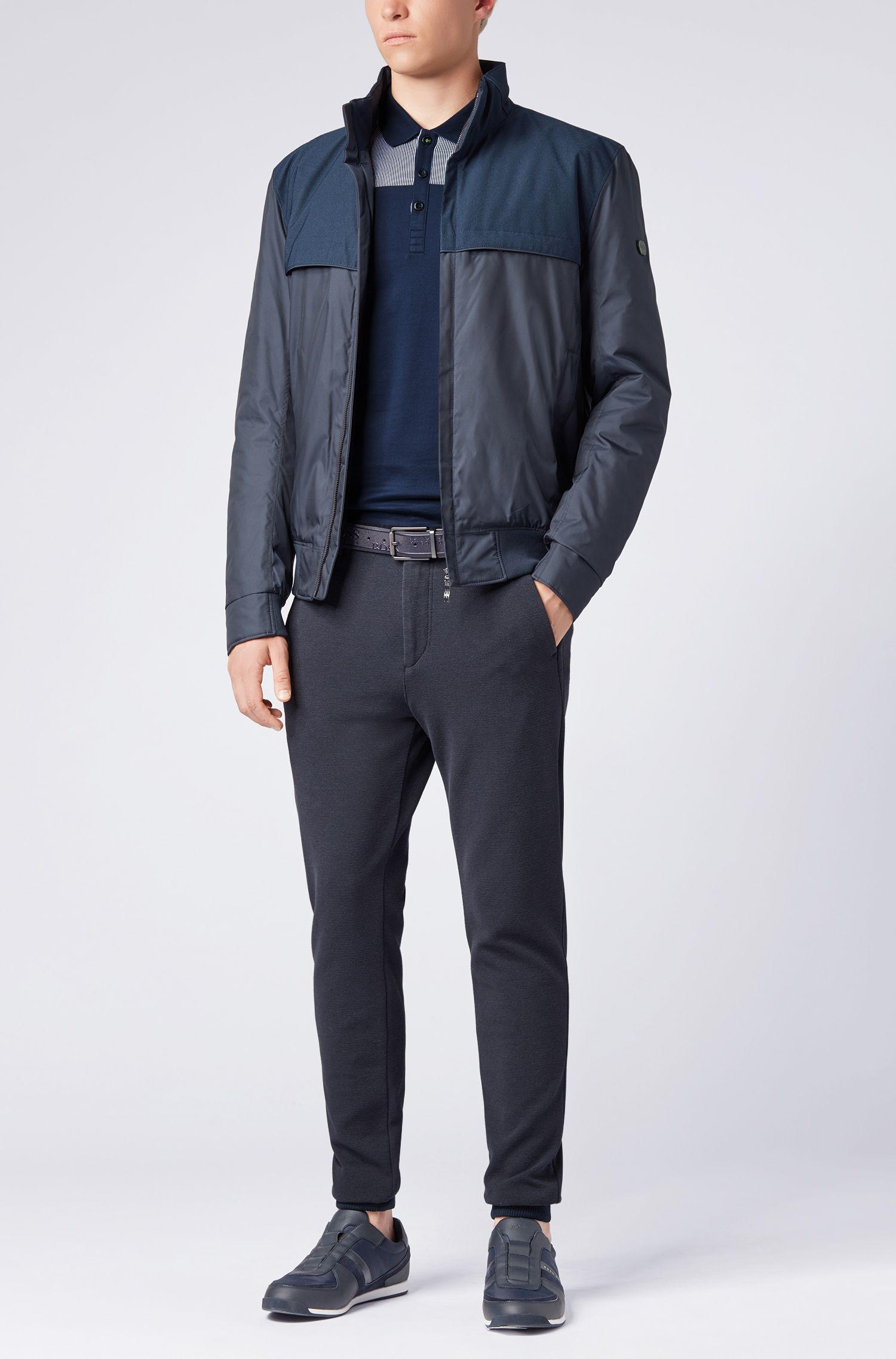Slim-fit long-sleeved polo shirt with striped yoke, Dark Blue
