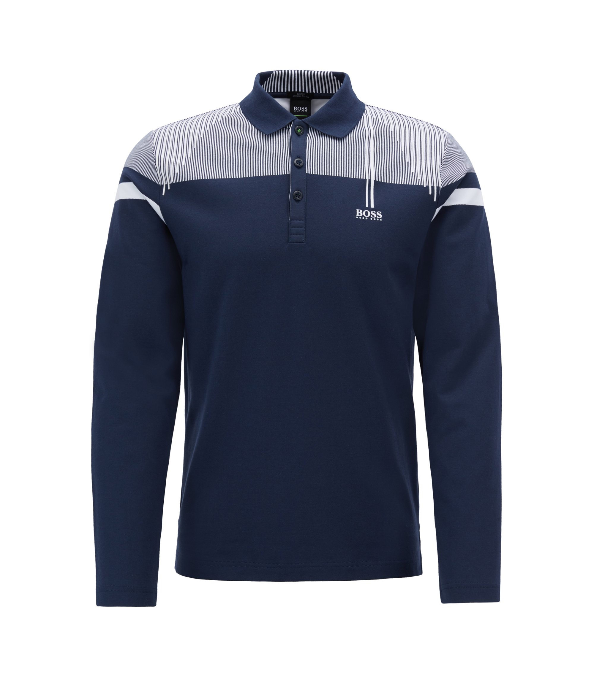 Slim-fit long-sleeved polo shirt with striped yoke, Dark Blue