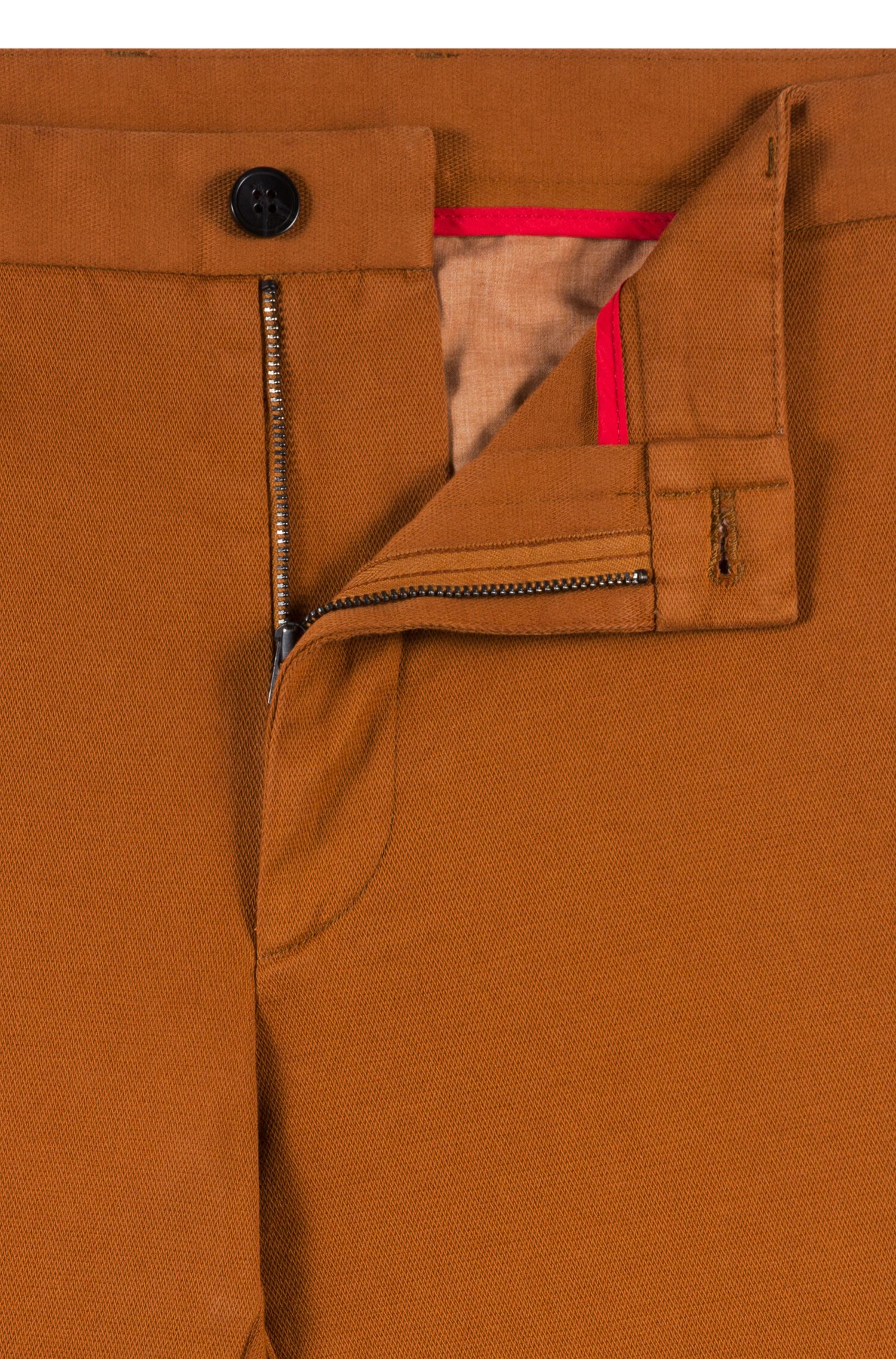 Extra-slim-fit trousers in micro-structure stretch cotton, Brown