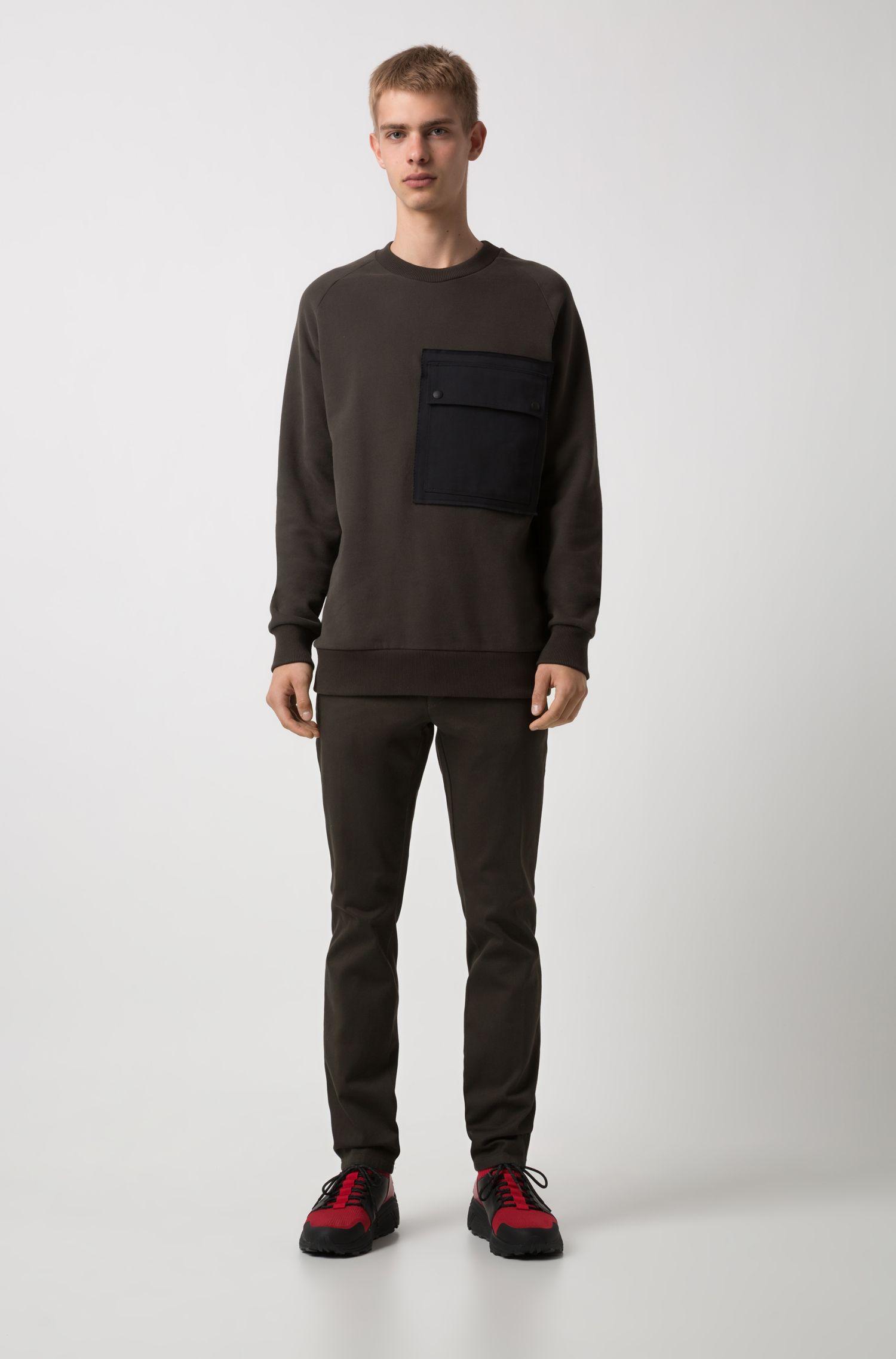 Extra Slim-Fit Hose aus fein strukturierter Stretch-Baumwolle, Dunkelgrün