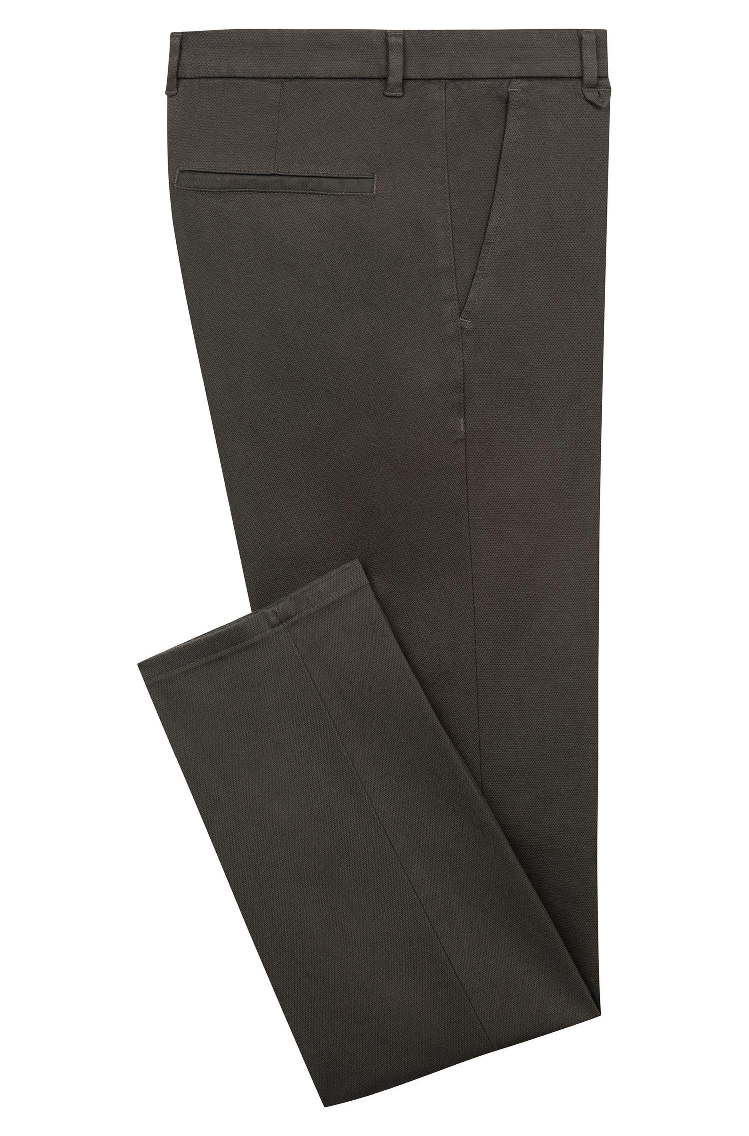 Pantalones extra slim fit en algodón elástico con microestructura, Verde oscuro