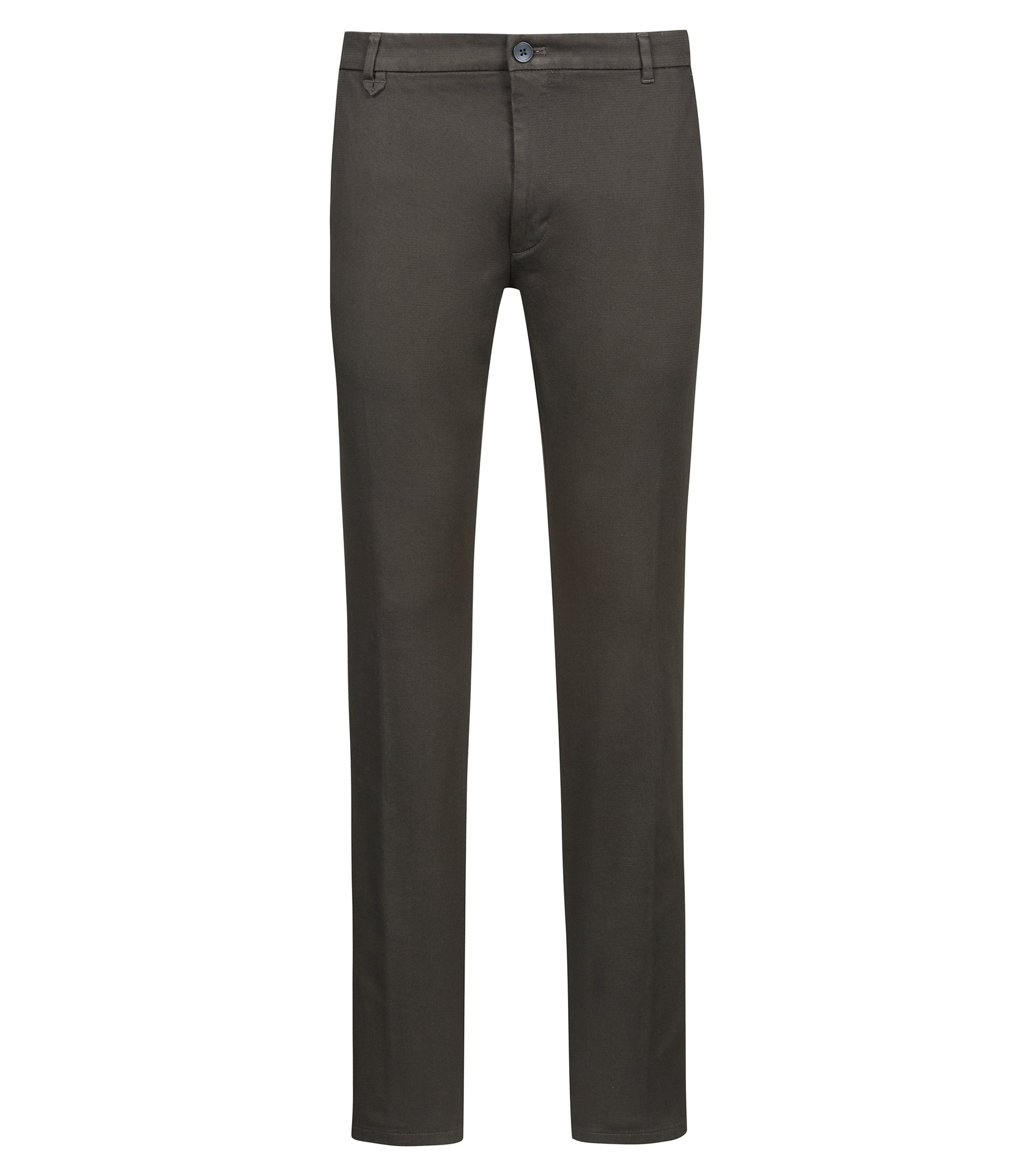 Extra-slim-fit trousers in micro-structure stretch cotton, Dark Green