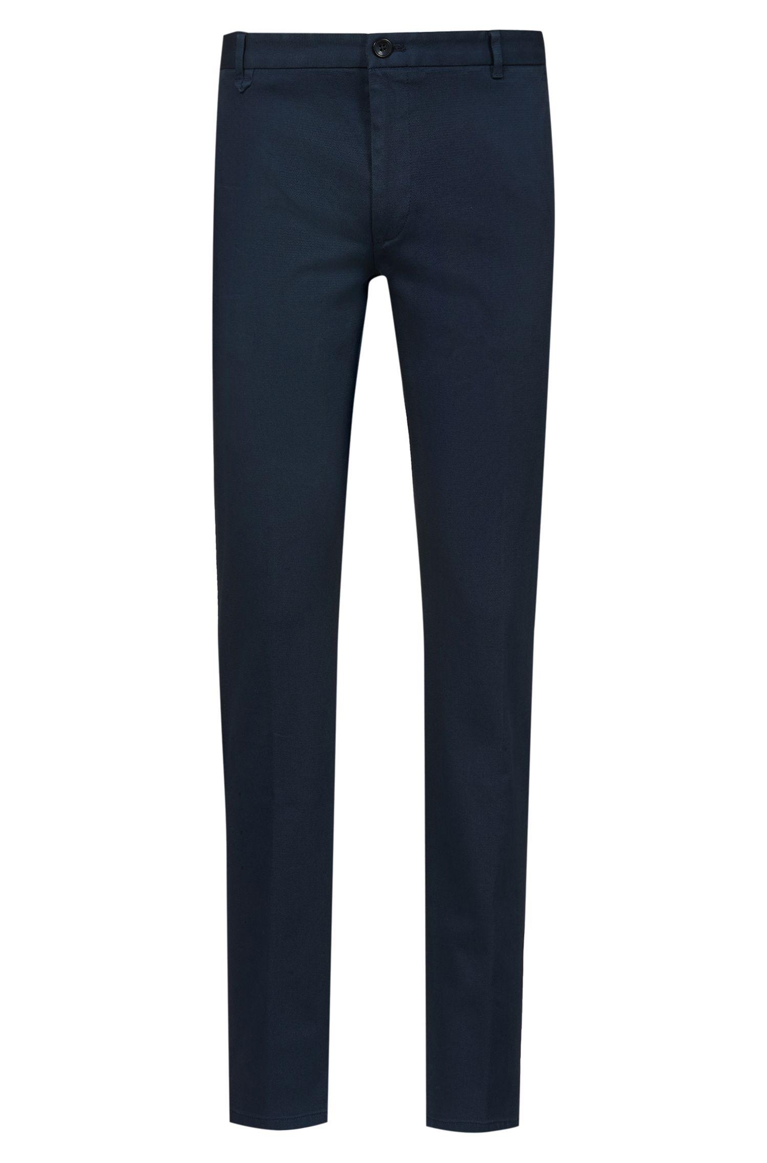 Extra slim-fit broek van stretchkatoen met microstructuur, Donkerblauw