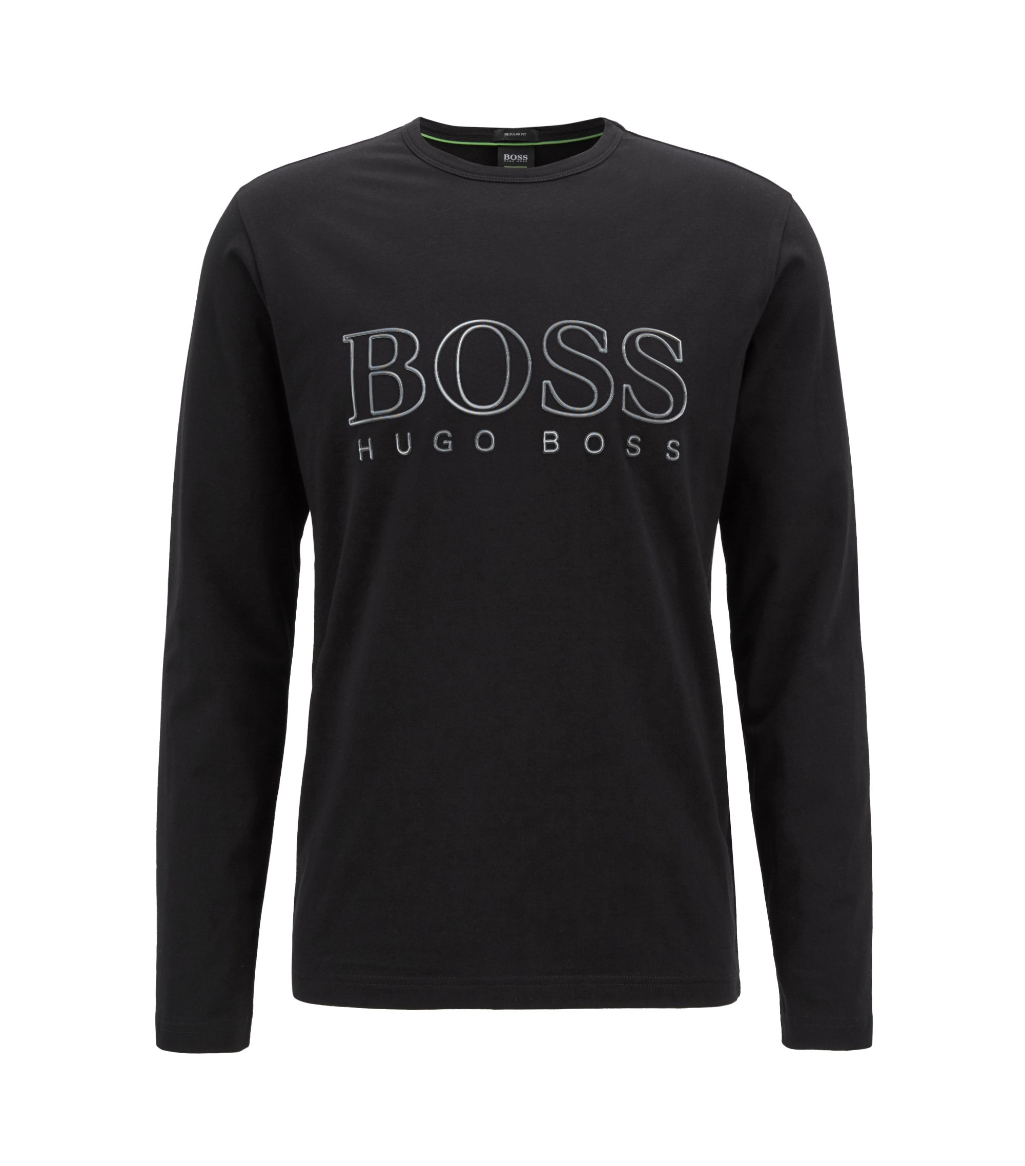 Long-sleeved T-shirt in stretch cotton with reflective logo, Black