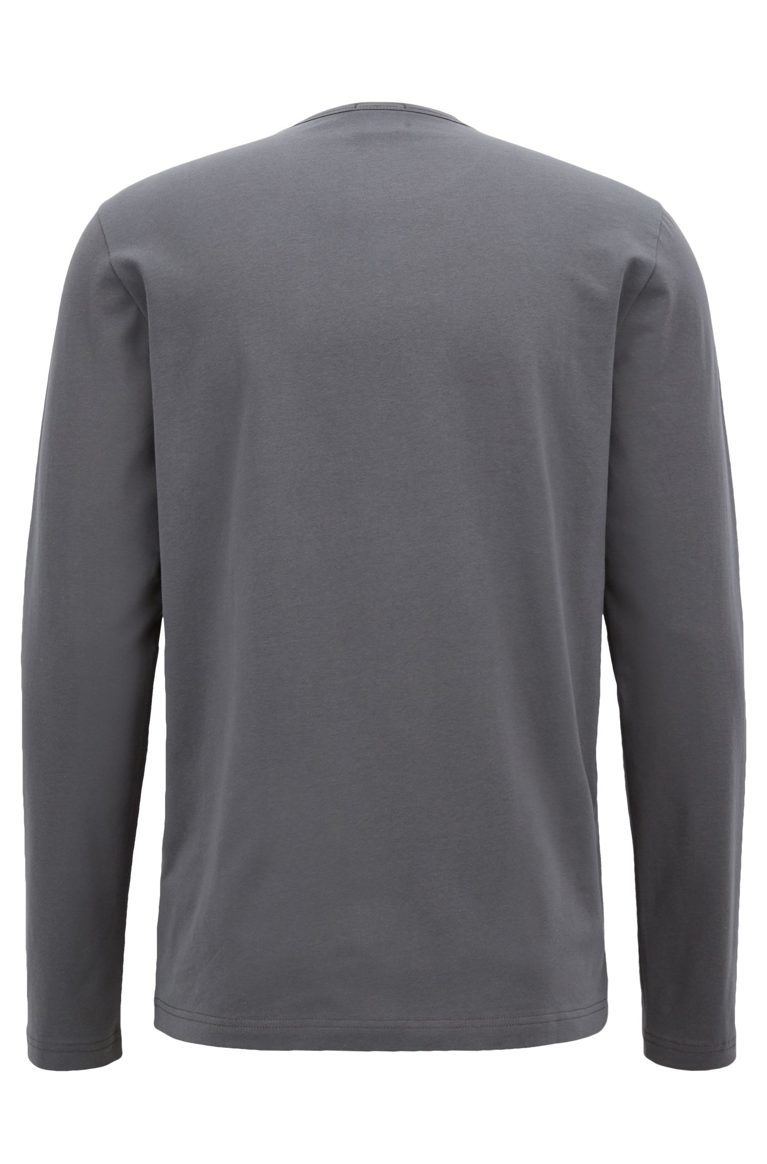 Long-sleeved T-shirt in stretch cotton with reflective logo, Anthracite