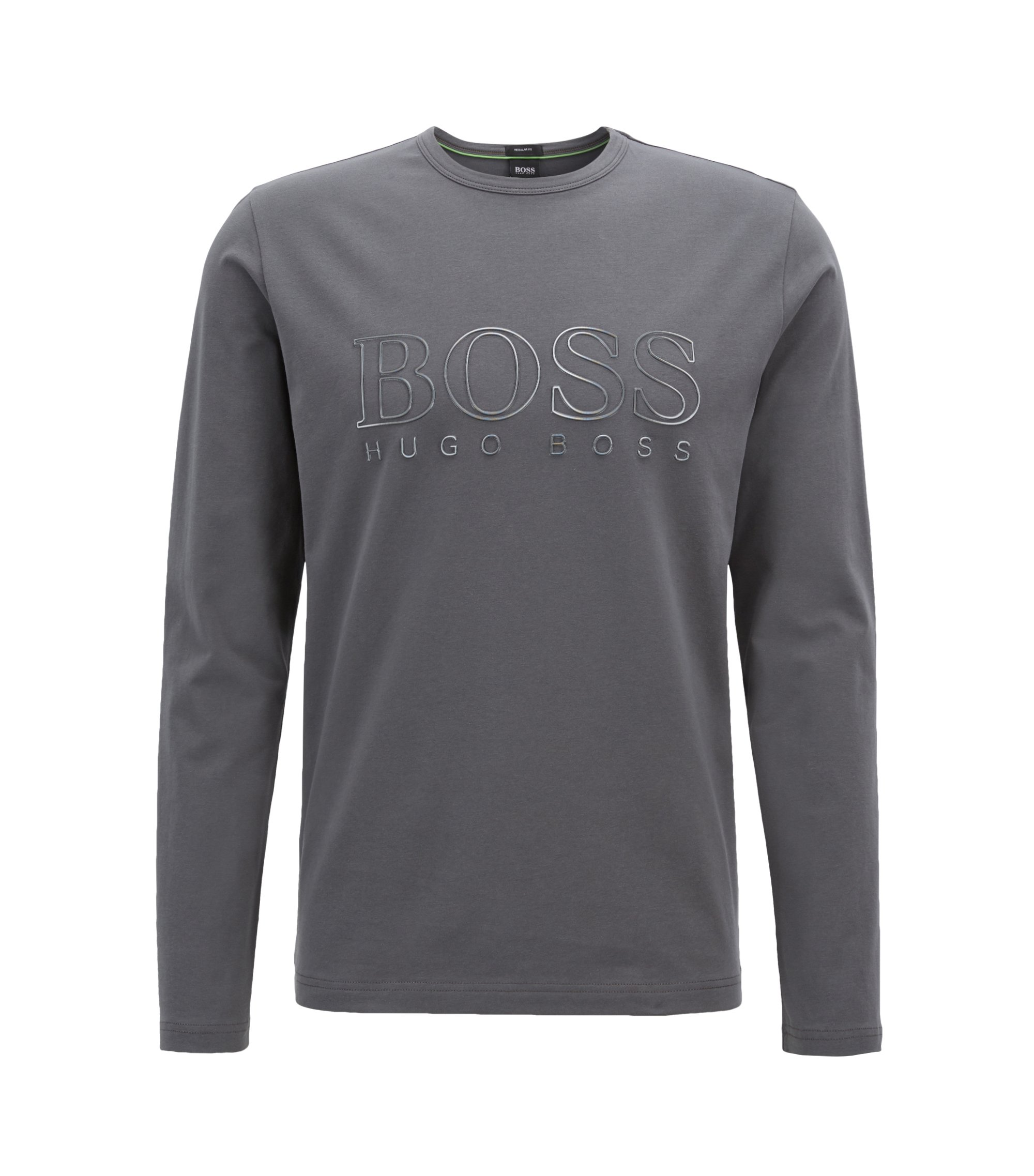 Long-sleeved T-shirt in stretch cotton with reflective logo, Anthrazit