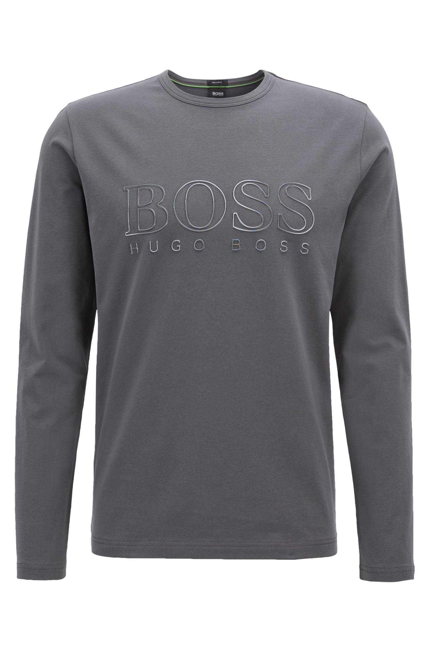 T-shirt à manches longues en coton stretch avec logo réfléchissant, Anthracite