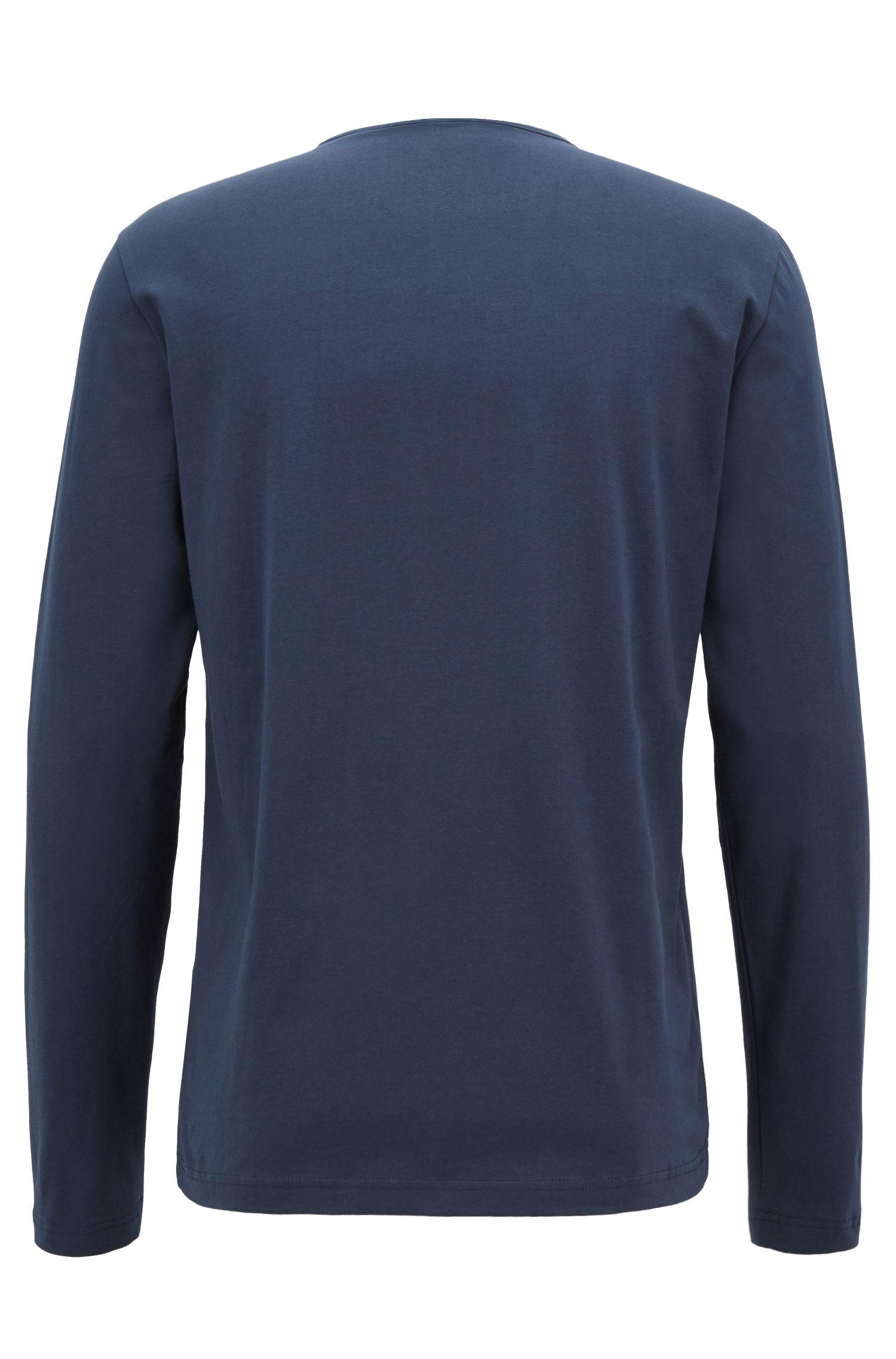 Maglia a maniche lunghe in cotone elasticizzato con logo riflettente, Blu scuro