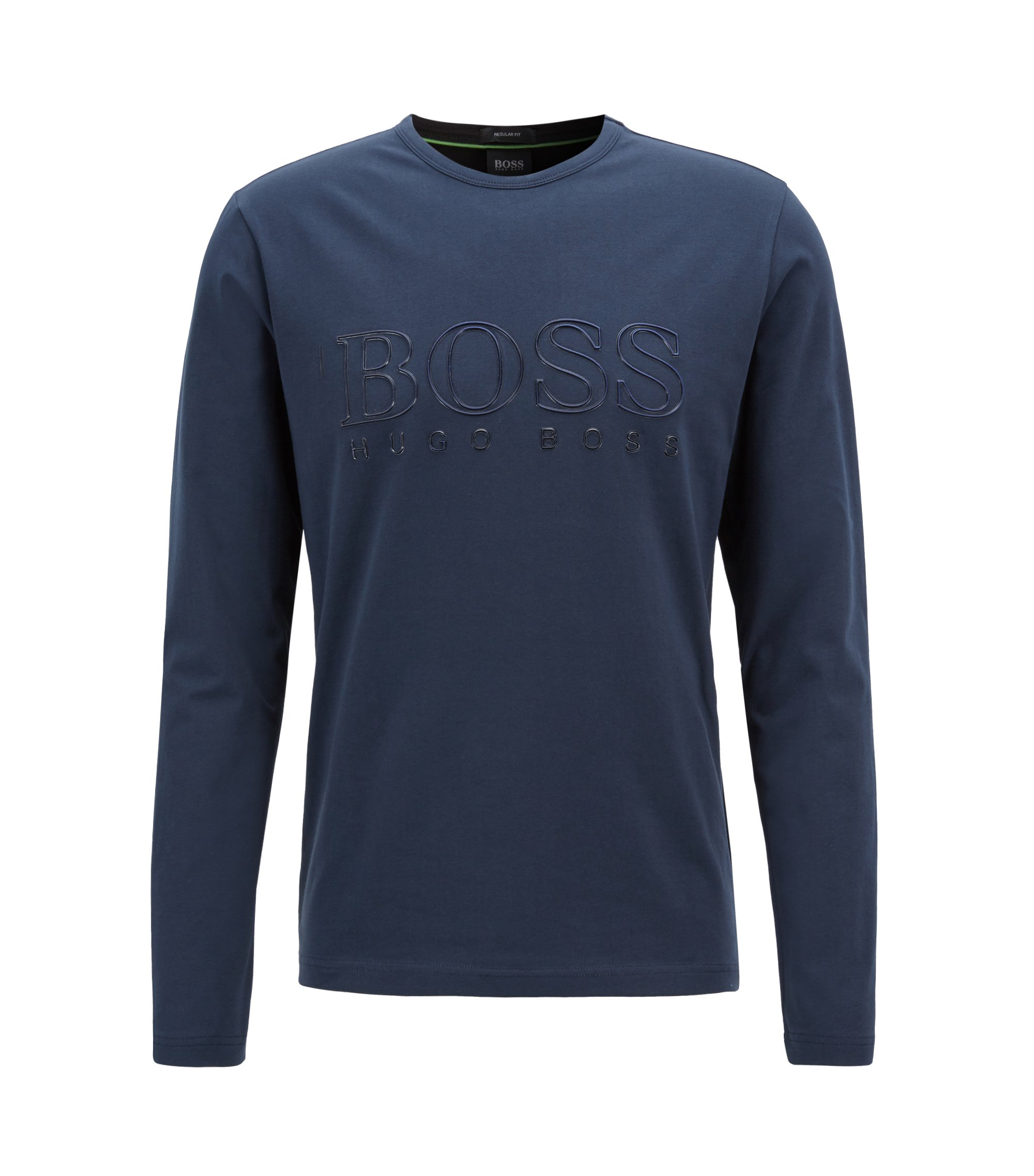 Long-sleeved T-shirt in stretch cotton with reflective logo, Dunkelblau
