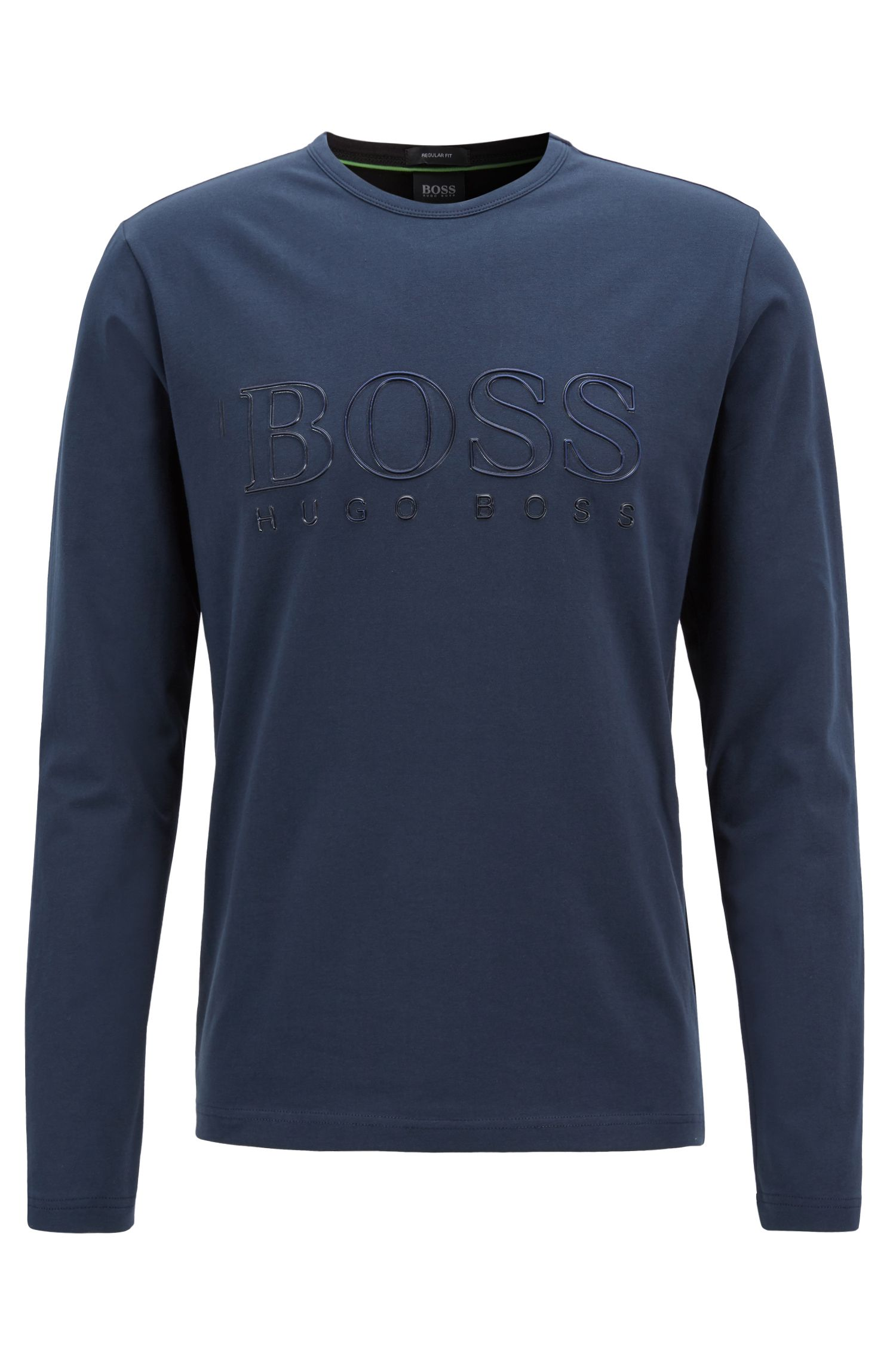 T-shirt met lange mouwen van stretchkatoen met reflecterend logo, Donkerblauw