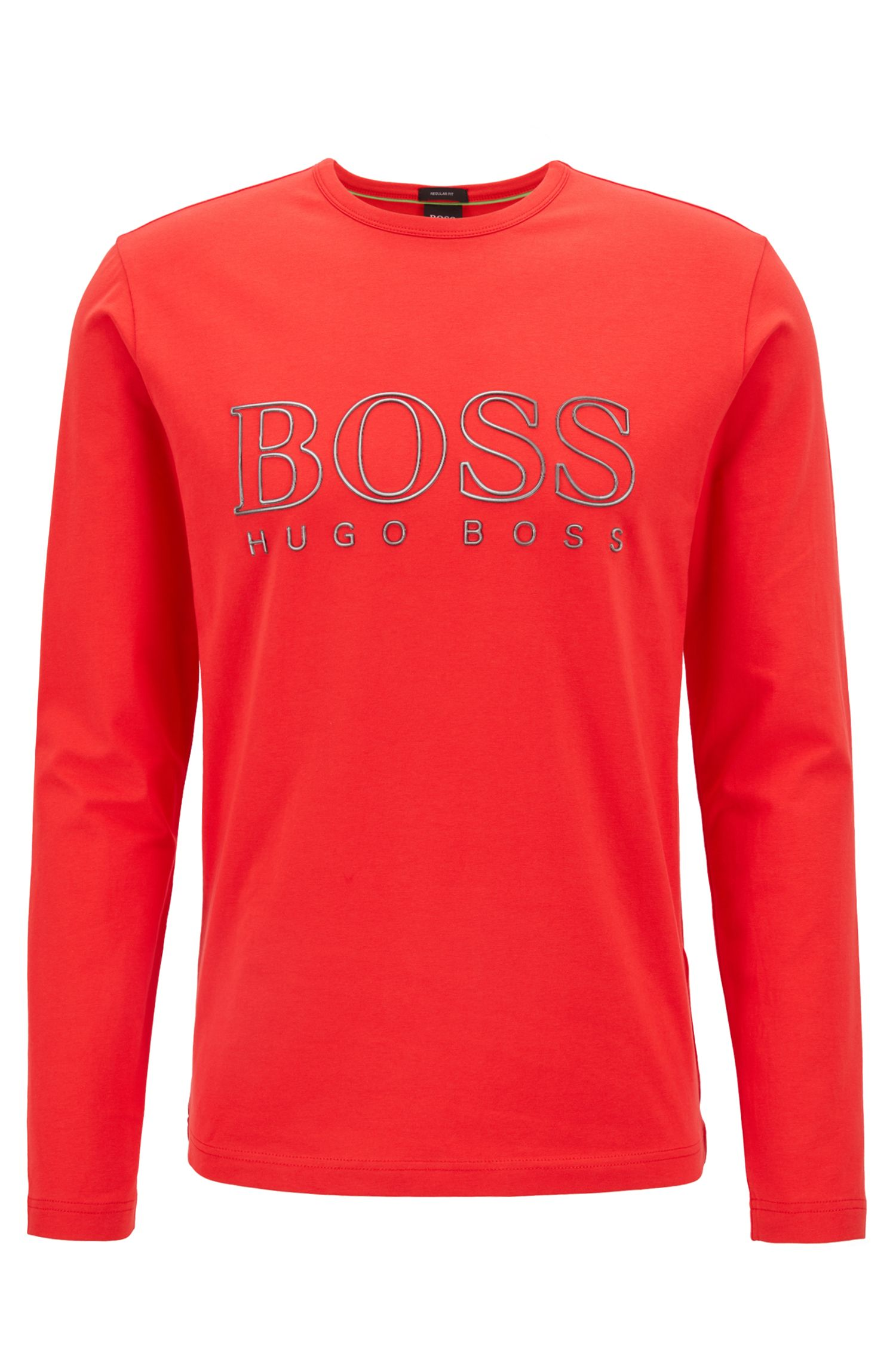 Long-sleeved T-shirt in stretch cotton with reflective logo, Open Red