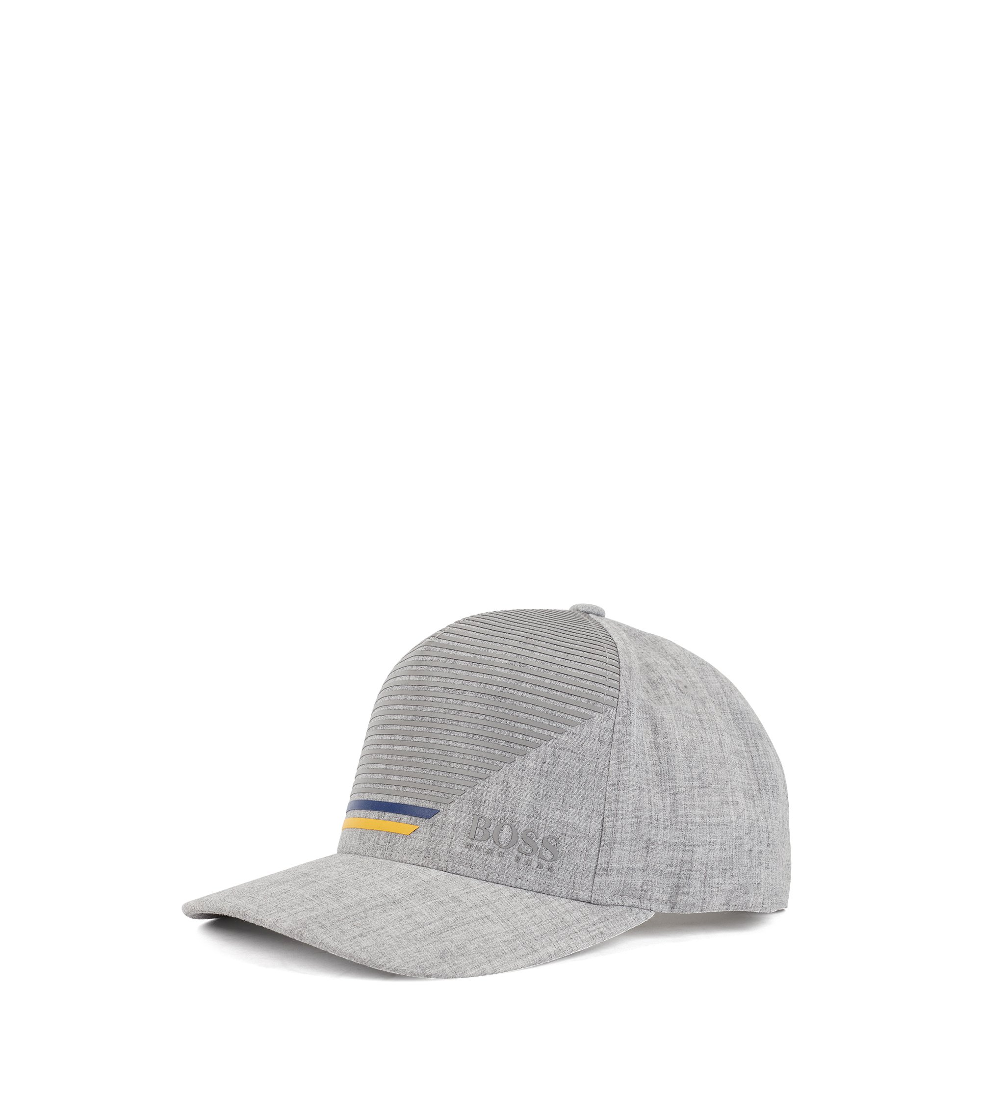 Snap-back cap in stretch fabric with stripe print, Light Grey
