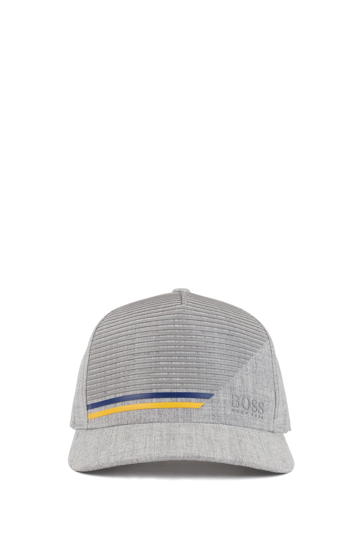Cap aus Stretch-Gewebe mit Streifen-Dessin, Hellgrau