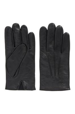 Handschuhe aus Nappaleder mit elastischem Einsatz, Schwarz