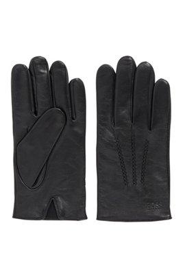 Guantes de piel de napa de cordero con pieza elástica, Negro