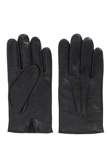 Lambskin-nappa leather gloves with elastic insert, Black