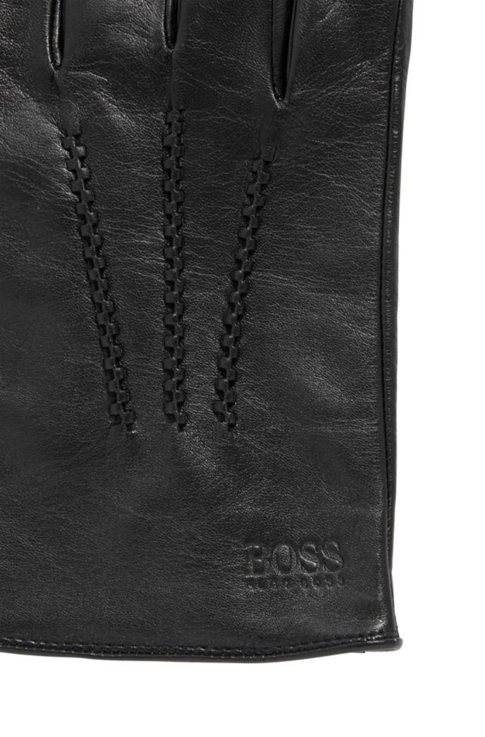 Guantes de piel de napa de cordero con pieza elástica