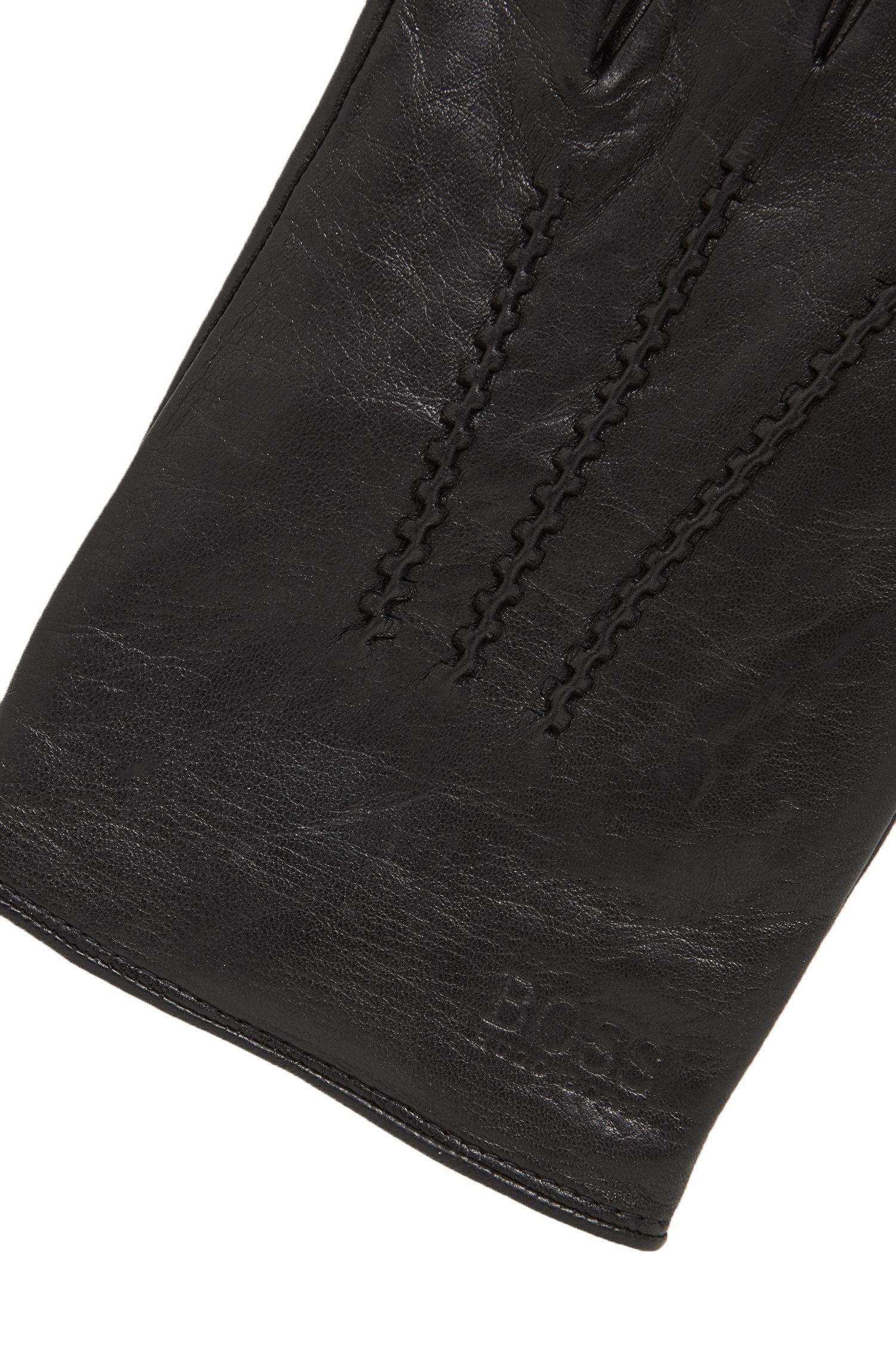 Guanti in pelle nappa d'agnello con inserto elasticizzato, Nero