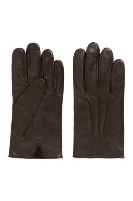 Handschuhe aus Nappaleder mit elastischem Einsatz, Dunkelbraun
