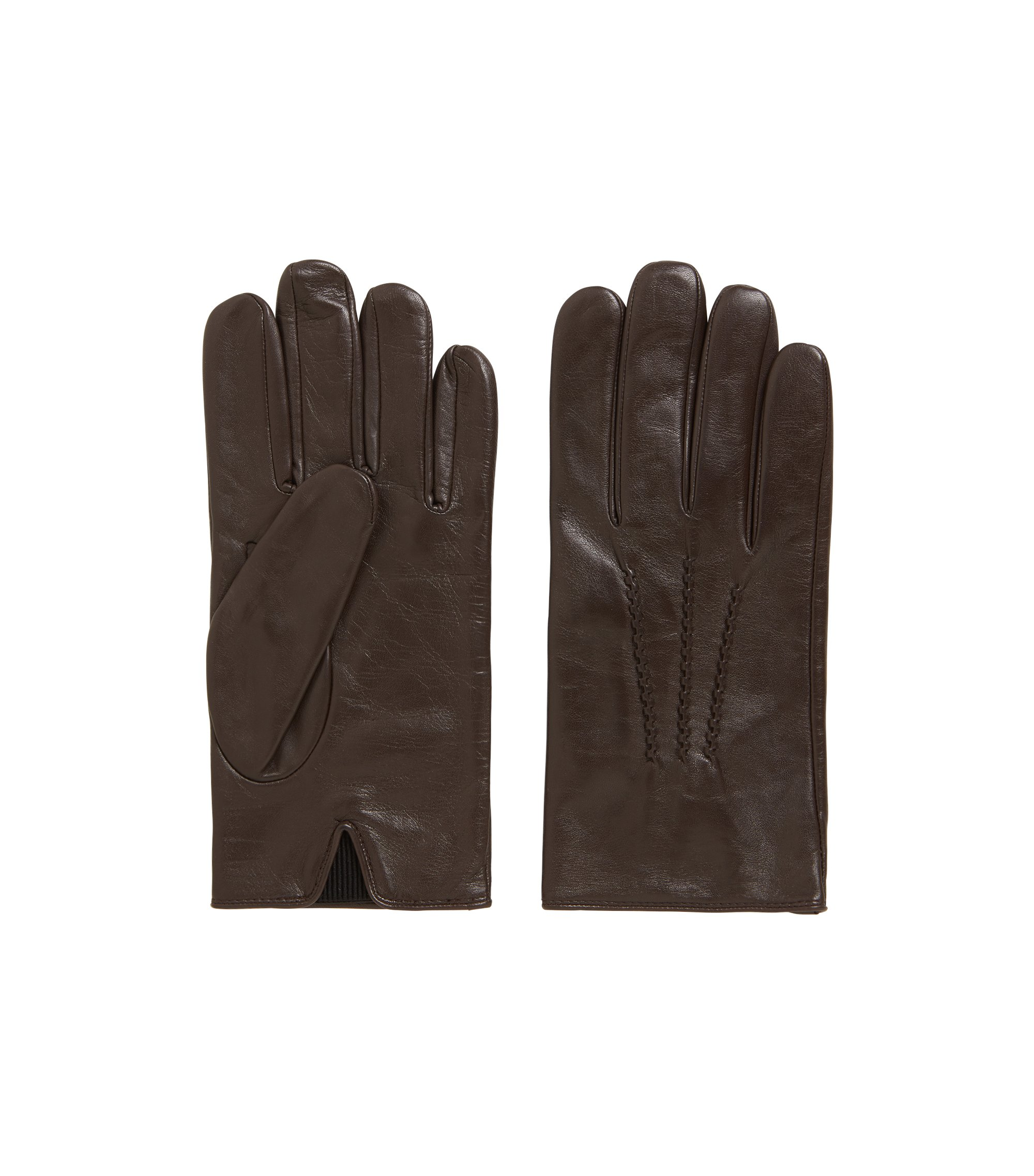 Lambskin-nappa leather gloves with elastic insert, Dark Brown