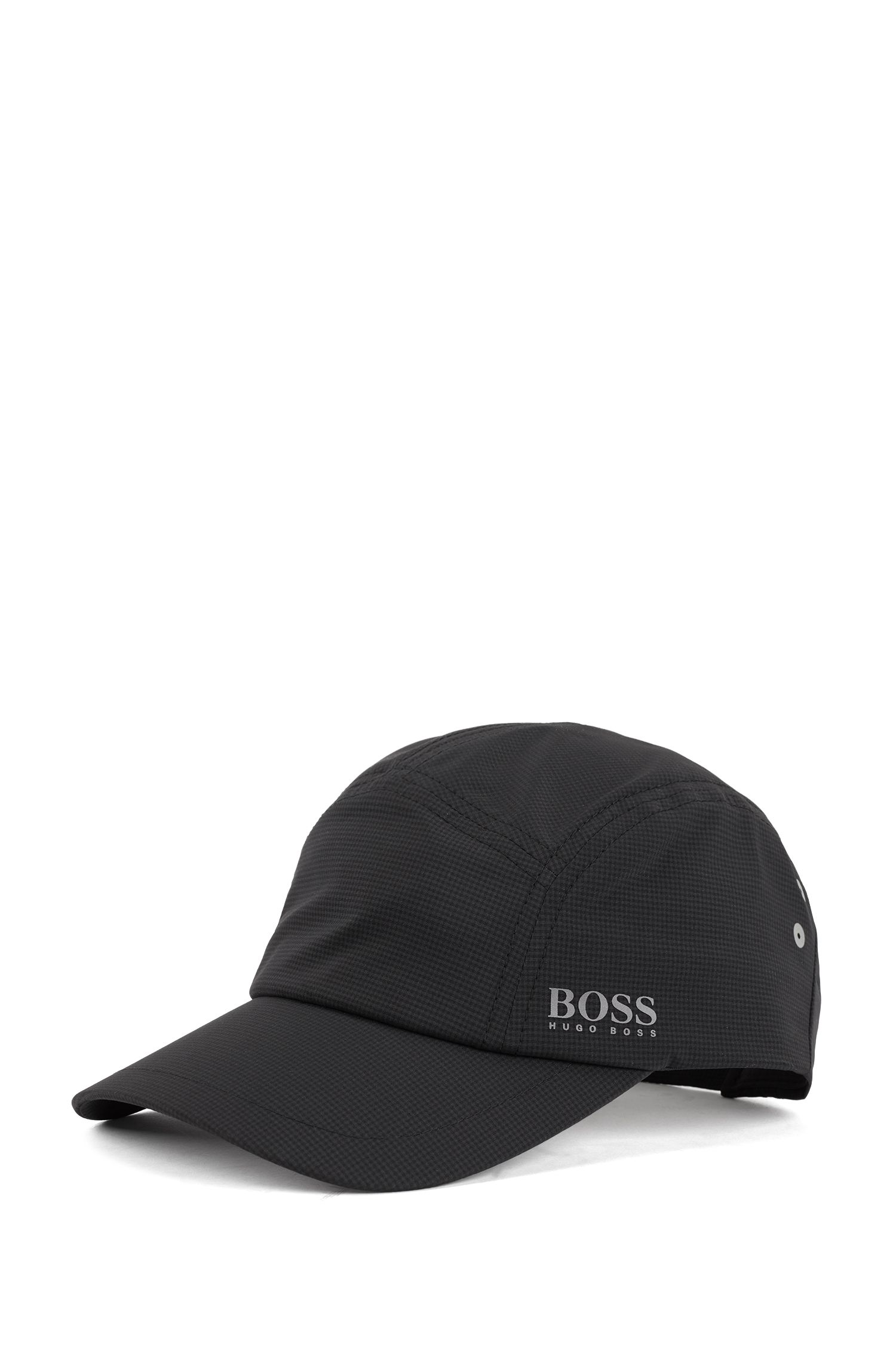Breathable cap in stretch fabric with micro pattern, Black