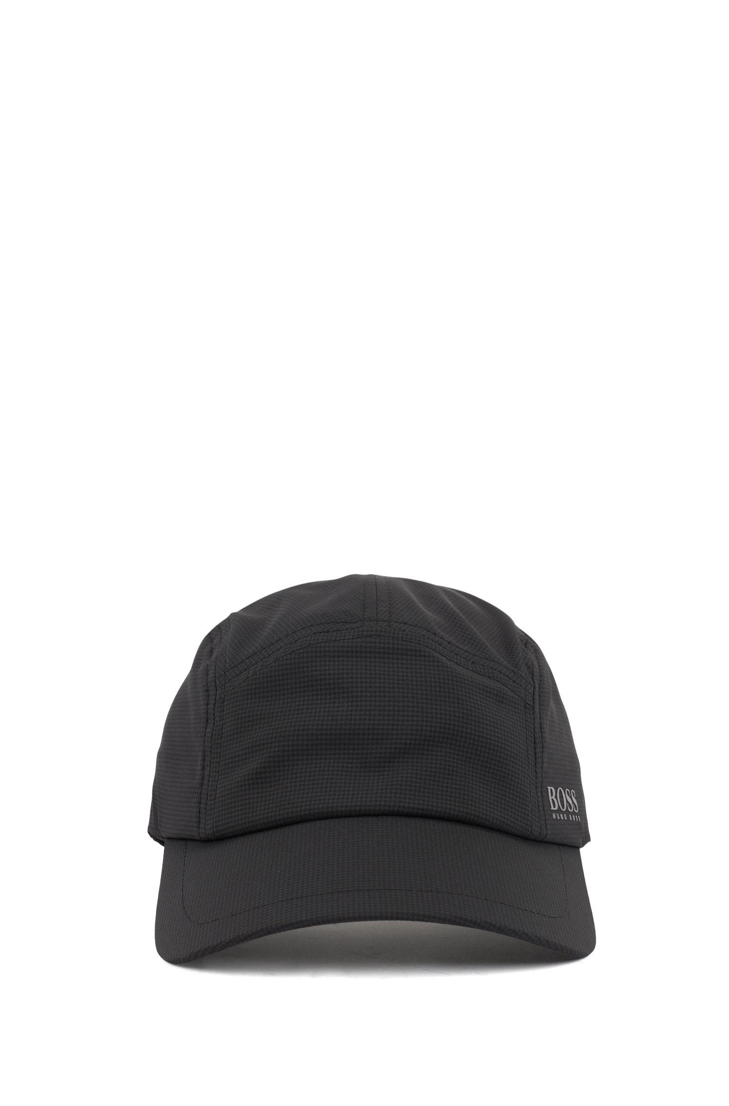 Casquette respirante en tissu stretch à micro-motif, Noir