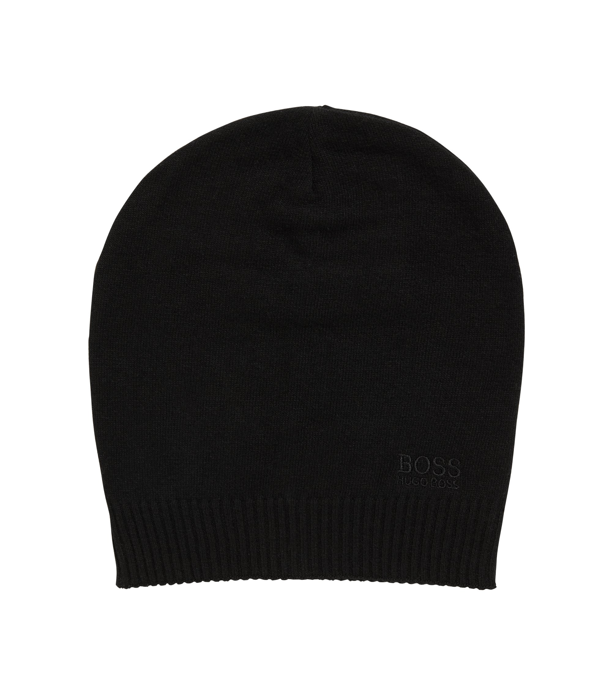 Knitted beanie hat with tonal logo, Black