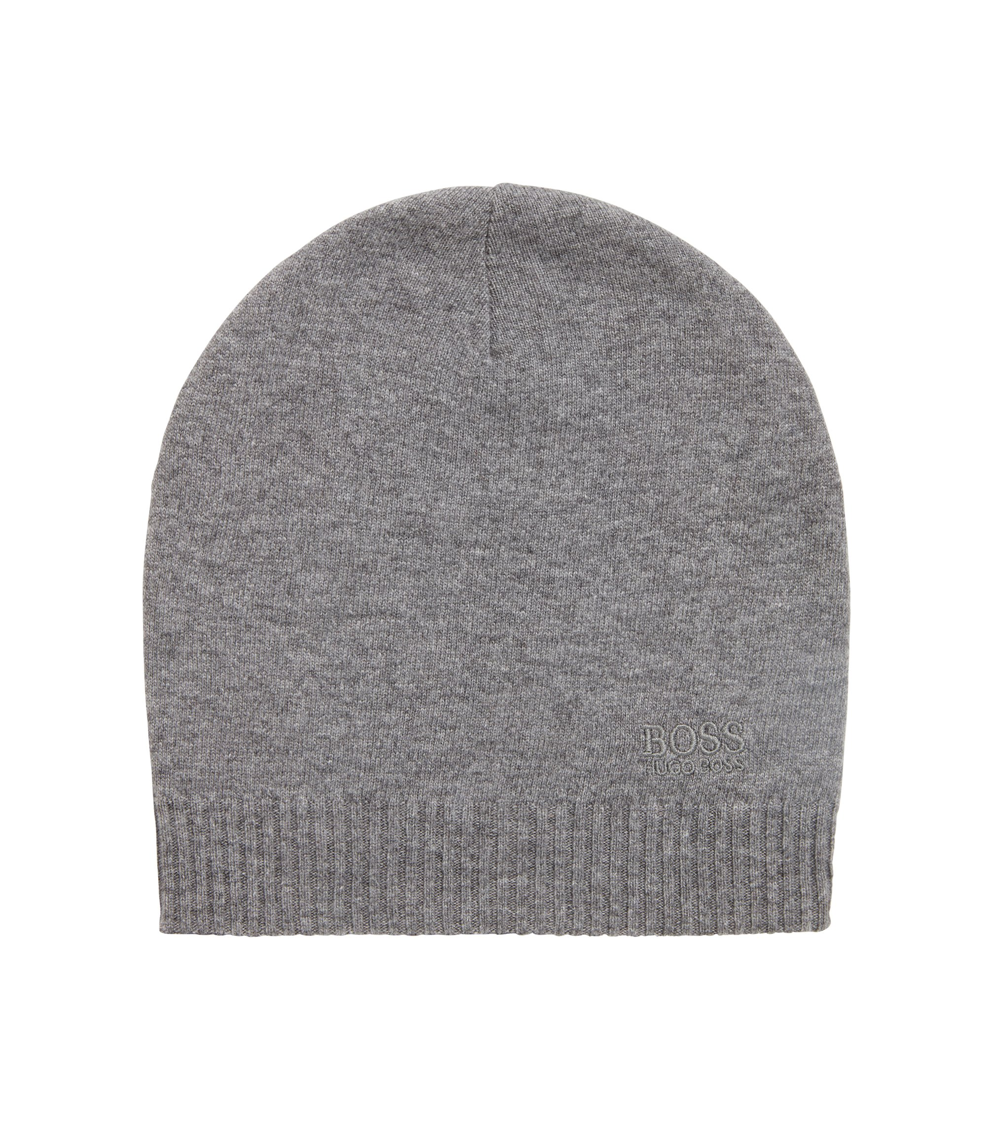 Knitted beanie hat with tonal logo, Grey