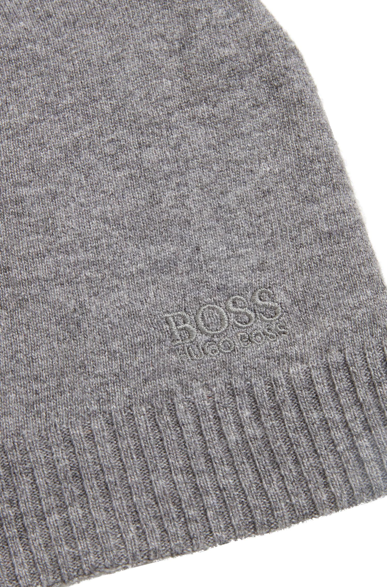 Strickmütze mit tonalem Logo, Grau