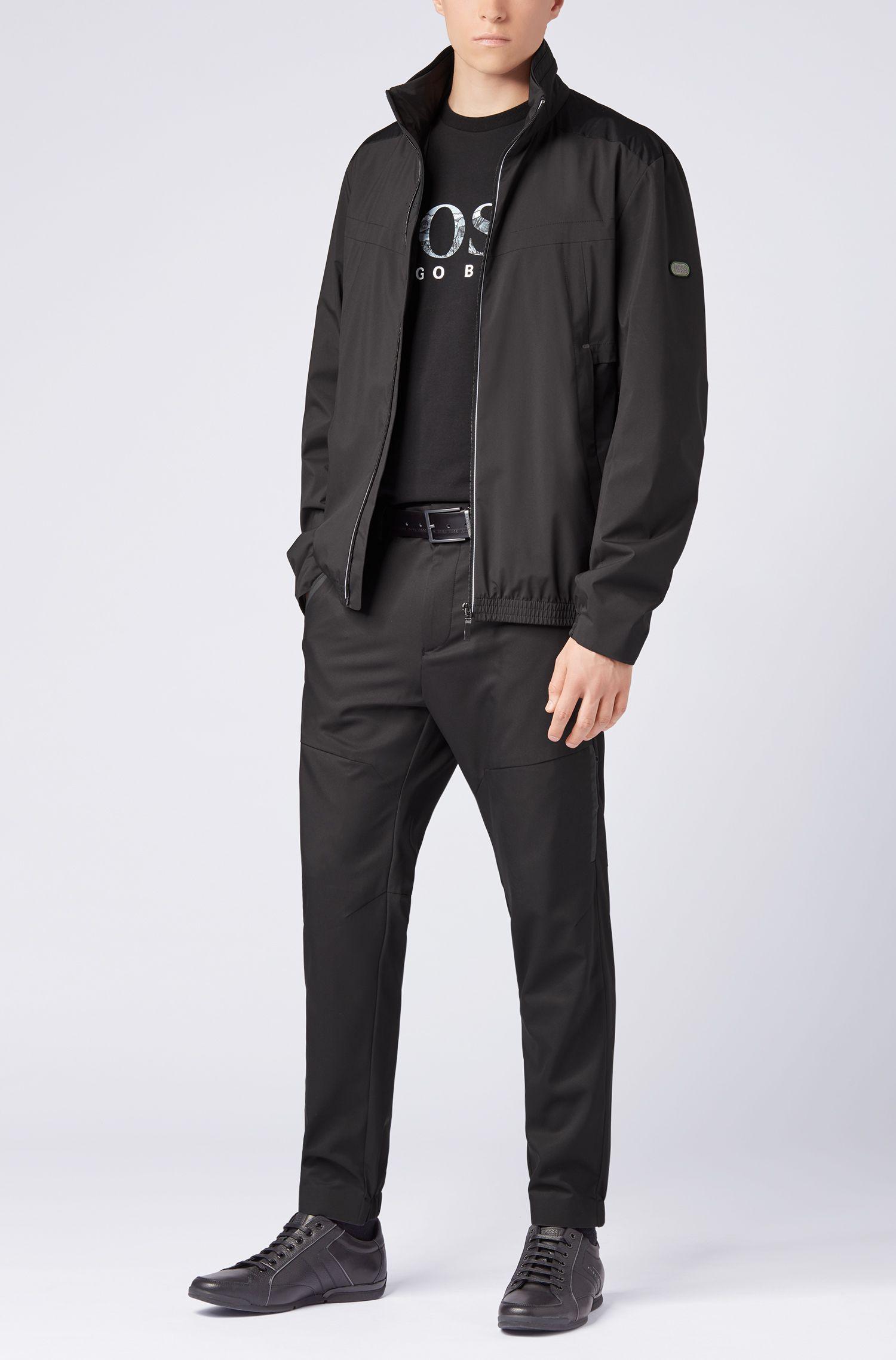 T-Shirt aus Stretch-Baumwolle mit Logo-Print der Saison, Schwarz