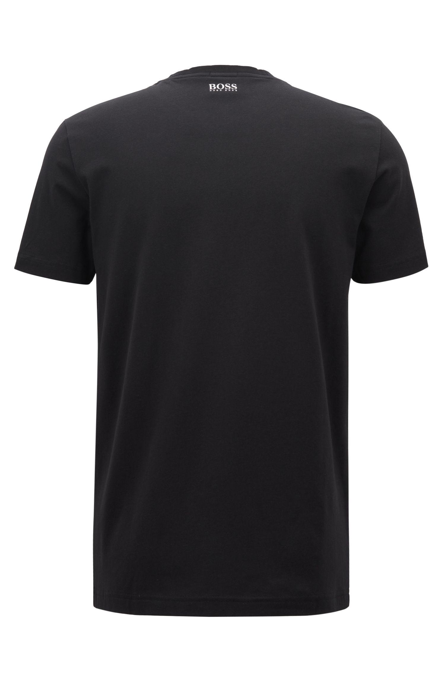 T-shirt in cotone elasticizzato con logo e stampa fotografica, Nero