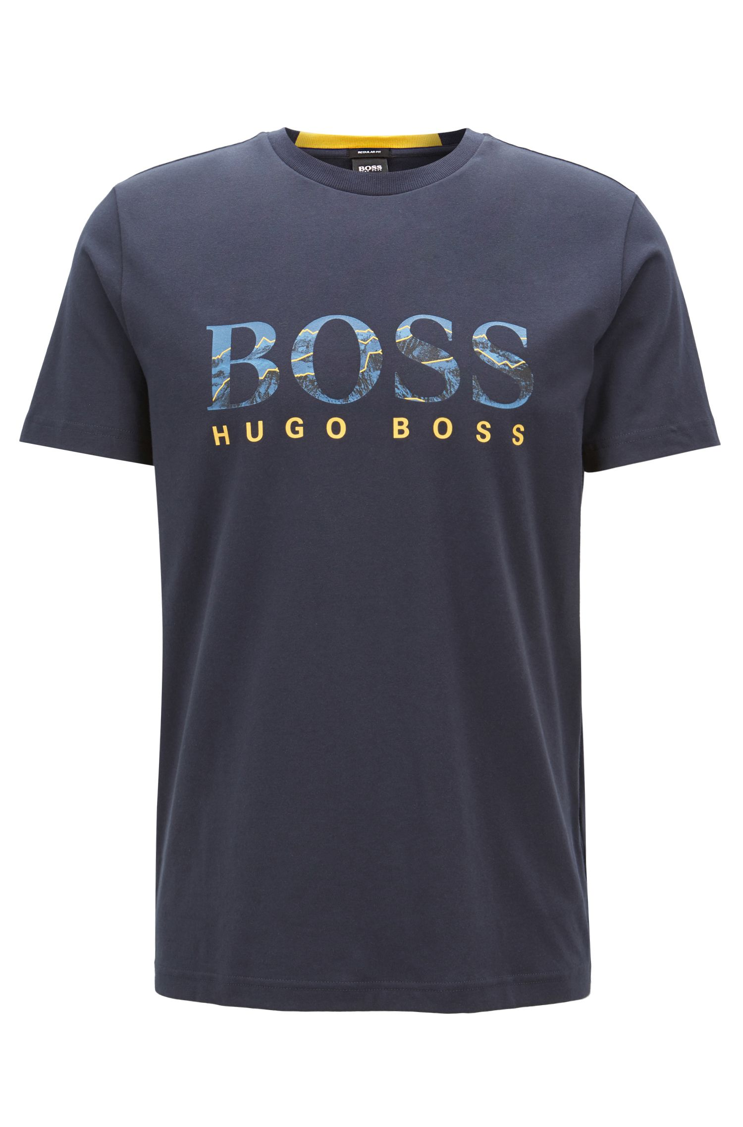 Logo T-shirt in stretch cotton with seasonal photographic print, Dark Blue