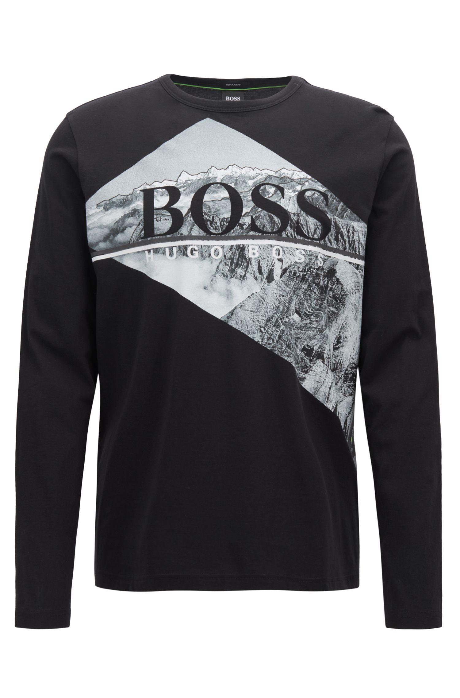 Camiseta de manga larga en algodón con un estampado fotográfico con el logo, Negro
