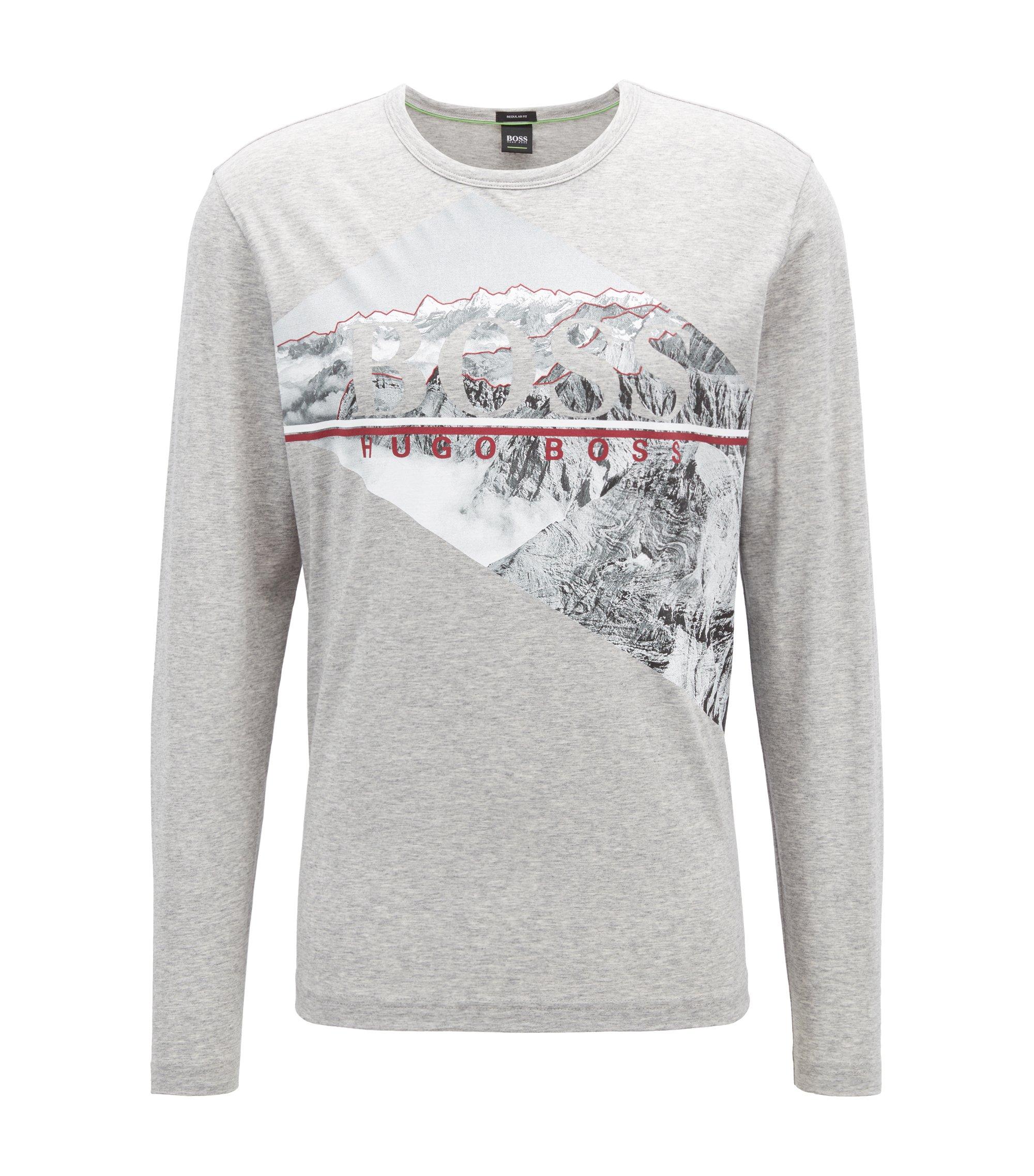 T-shirt van katoen met lange mouwen en fotografische logoprint, Lichtgrijs