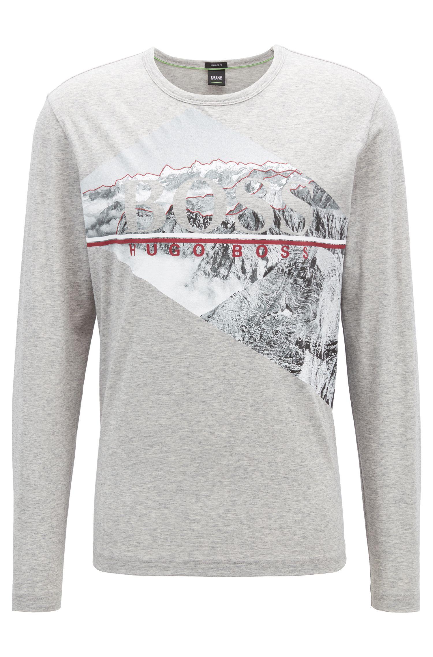 T-shirt à manches longues en coton à imprimé logo photographique, Gris chiné