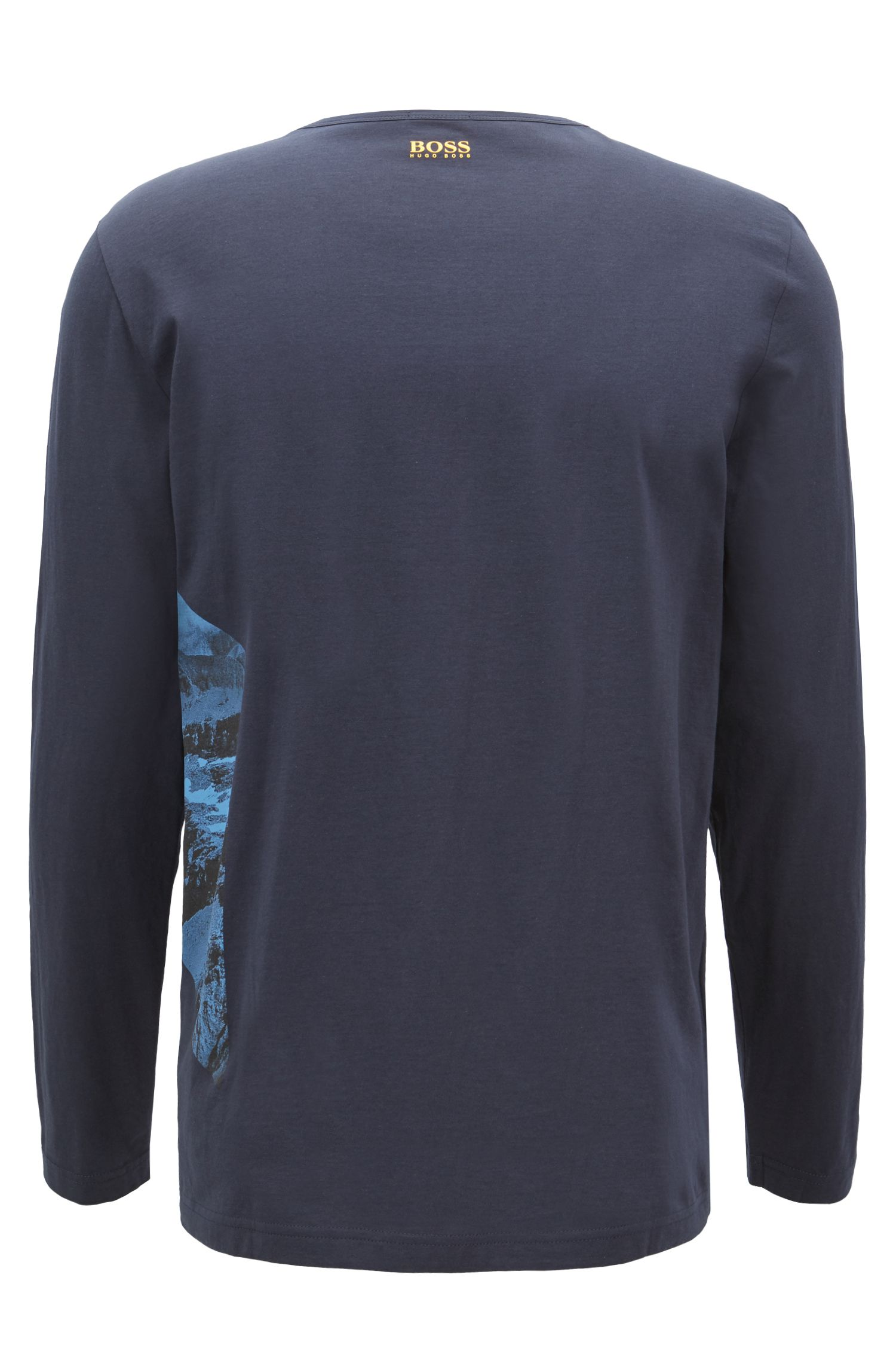 Long-sleeved T-shirt in cotton with photographic logo print, Dark Blue