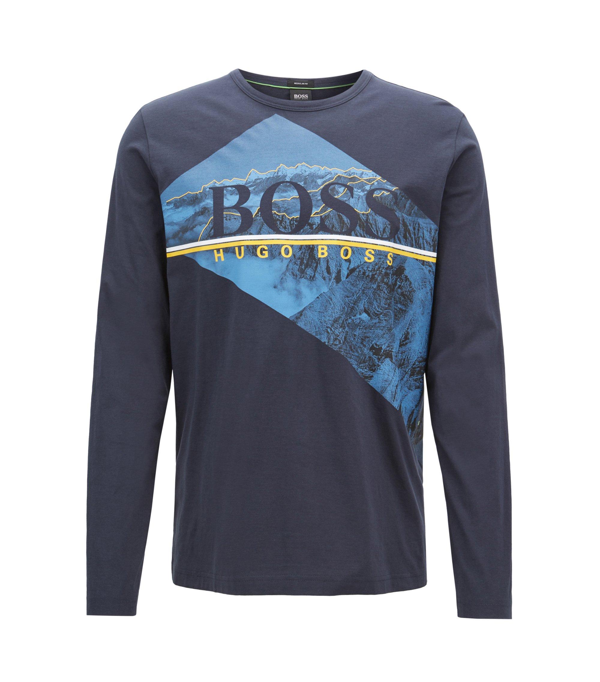 T-shirt van katoen met lange mouwen en fotografische logoprint, Donkerblauw