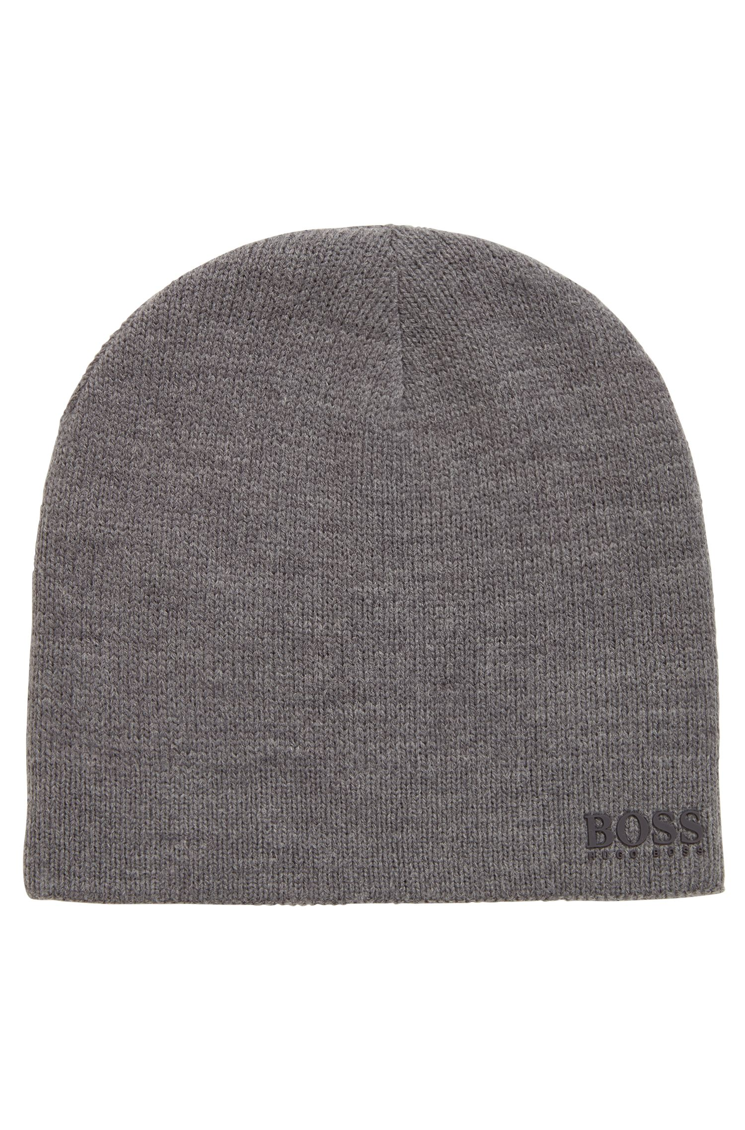 Reversible beanie with reflective yarn, Grey