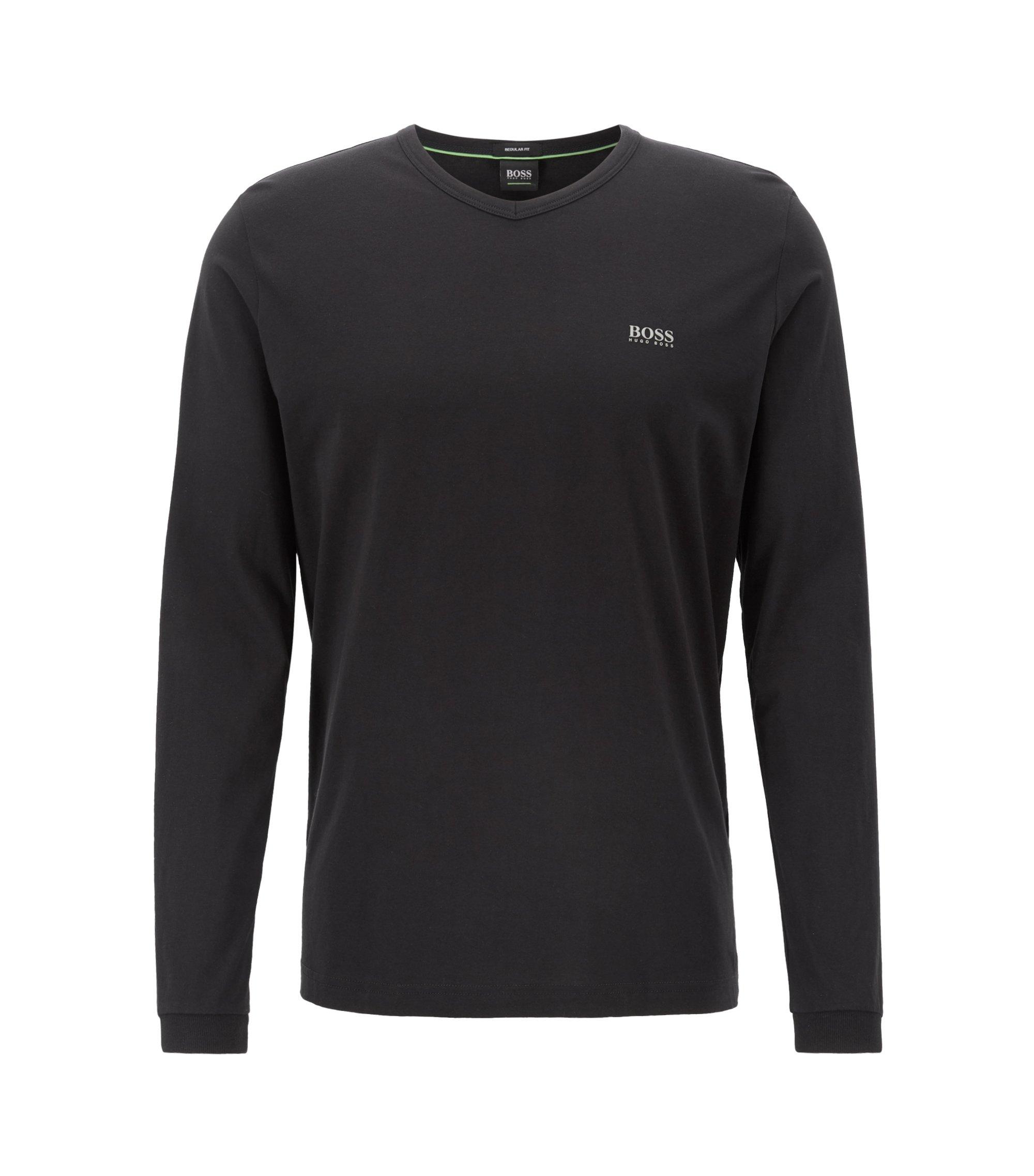 Jersey T-shirt met V-hals en logodetails, Zwart