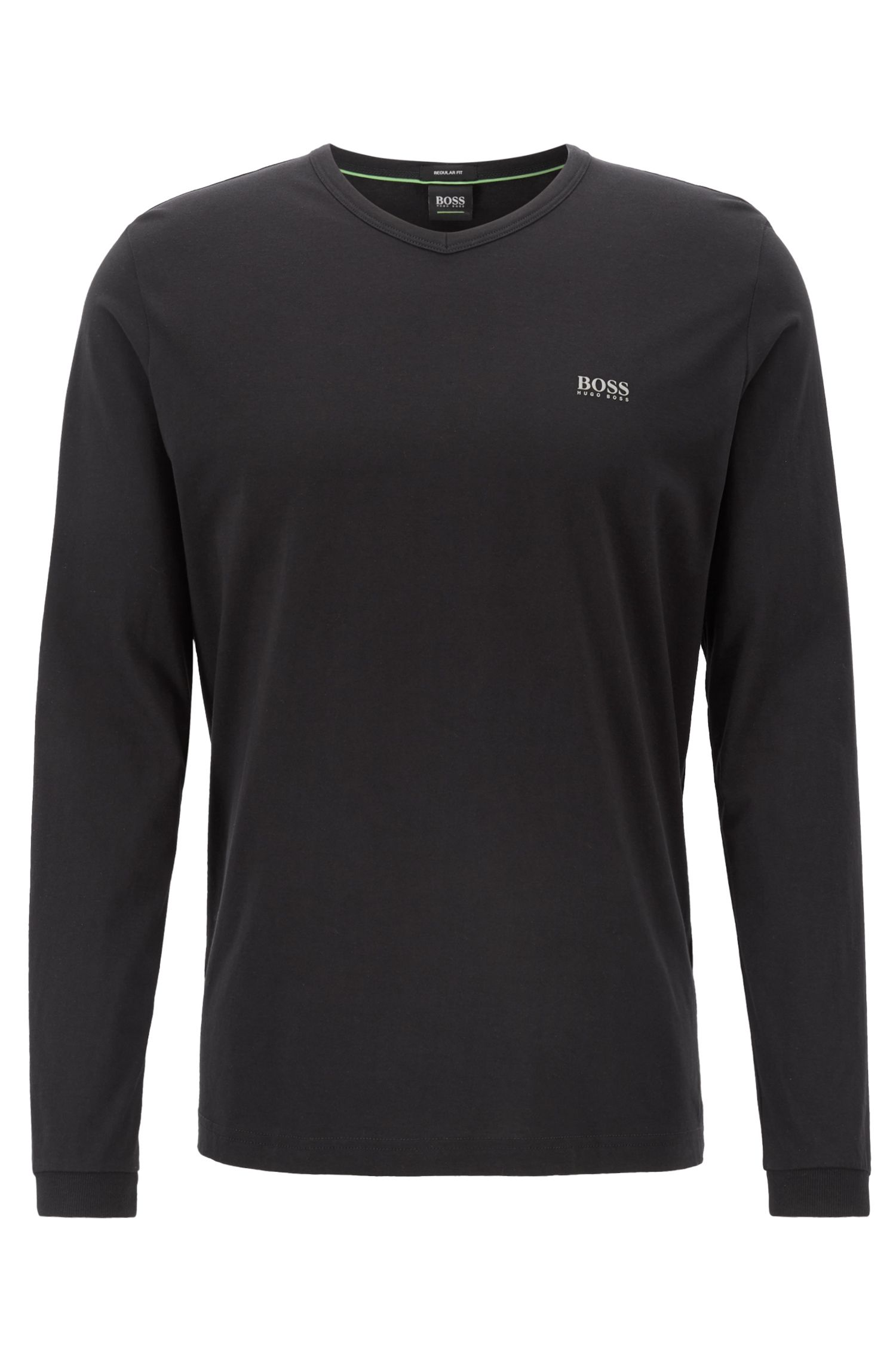 V-neck jersey T-shirt with logo detailing, Black