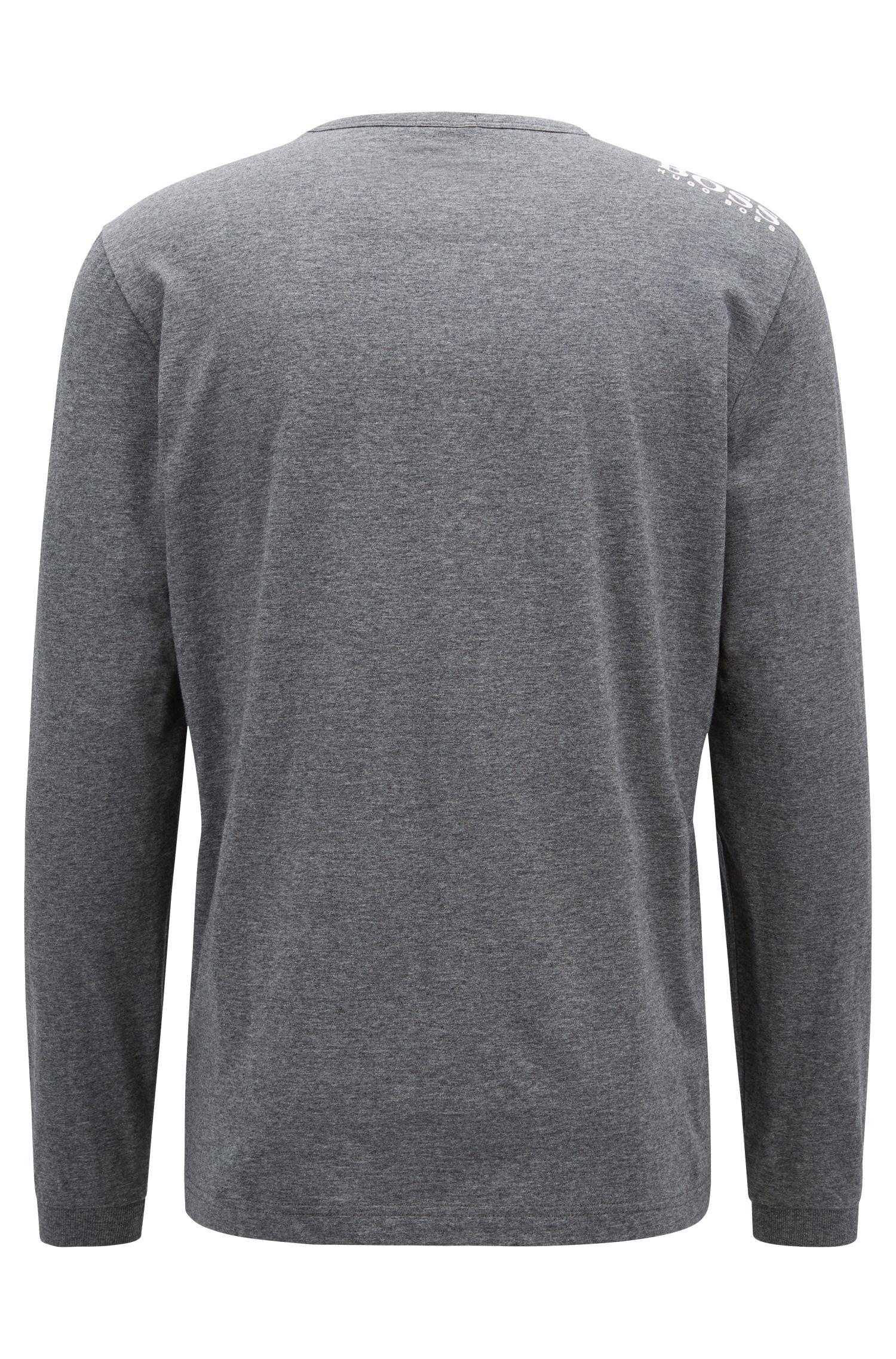 Longsleeve aus Jersey mit V-Ausschnitt und Logo, Grau
