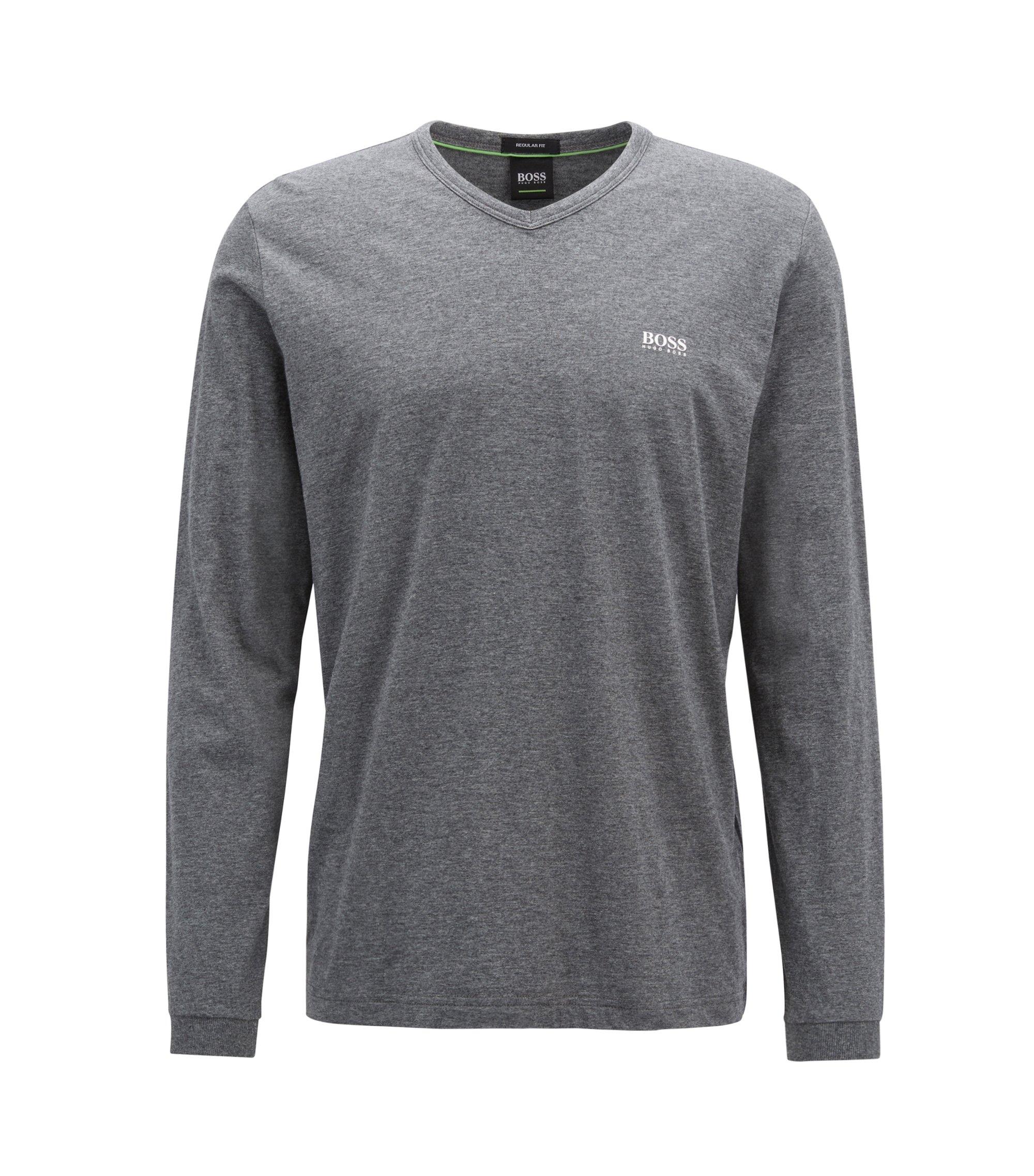 T-shirt en jersey à col V orné du logo, Gris