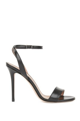 Heeled sandals in Italian calf leather, Black