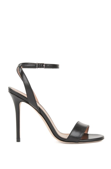 Heeled sandals in Italian calf leather, Black