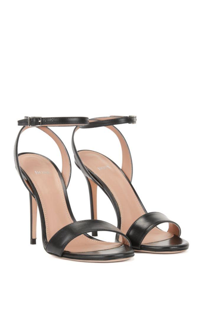 Heeled sandals in Italian calf leather