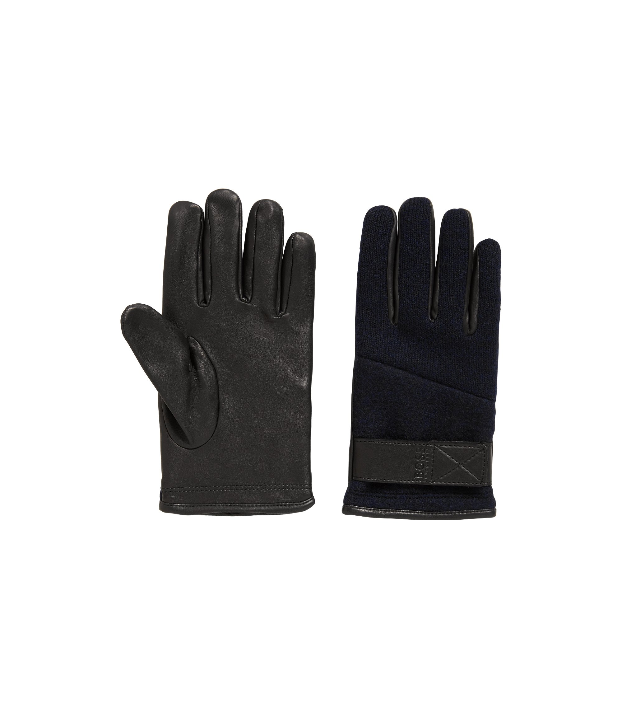 Adjustable gloves in lambskin leather and knitted fabric, Black
