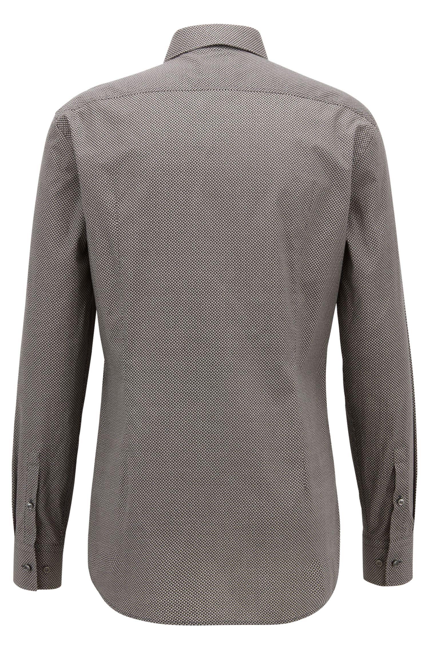 Camicia slim fit in cotone con motivo stampato realizzato in Italia