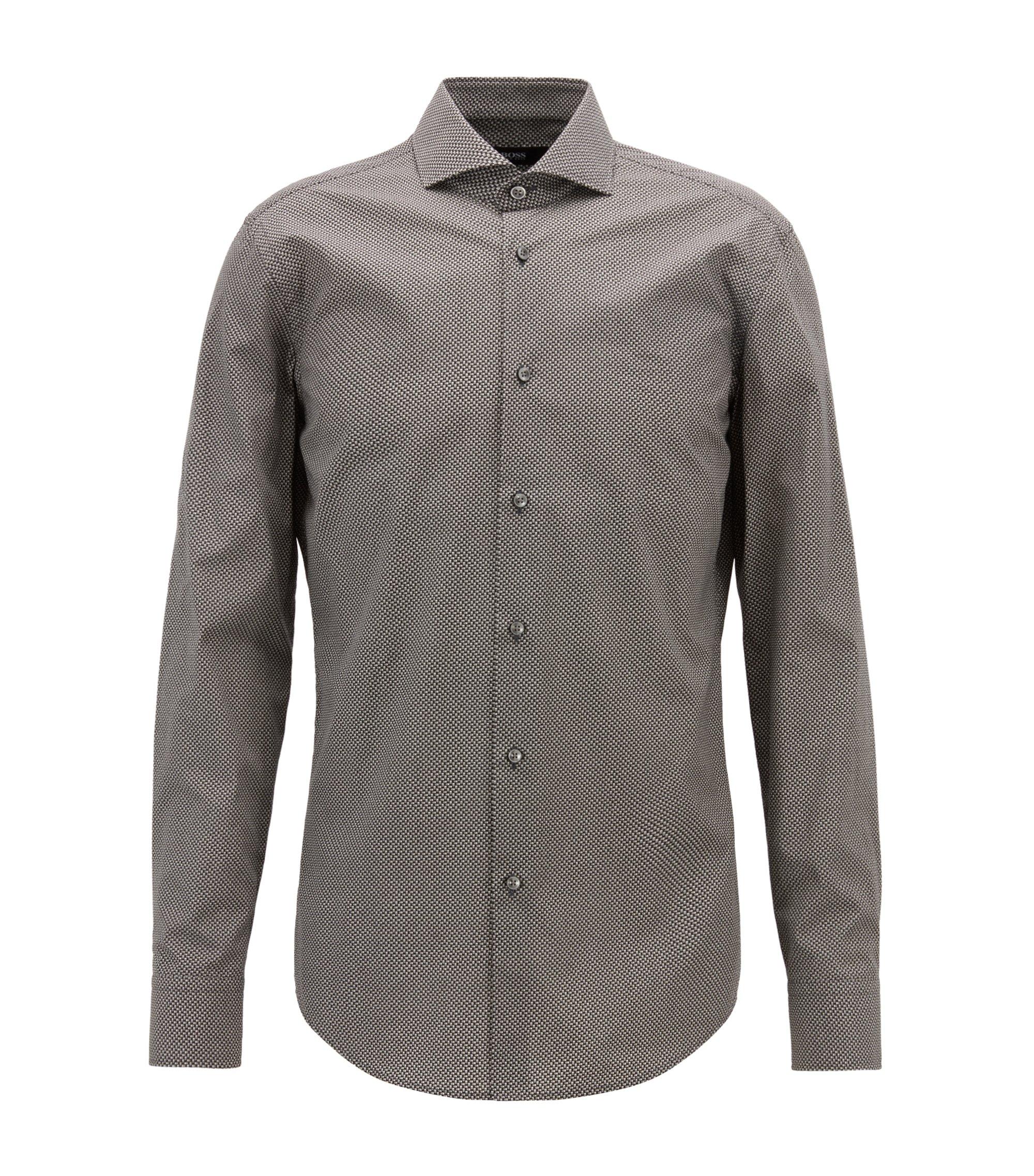 Slim-fit shirt in Italian cotton with printed motif, Dark Grey