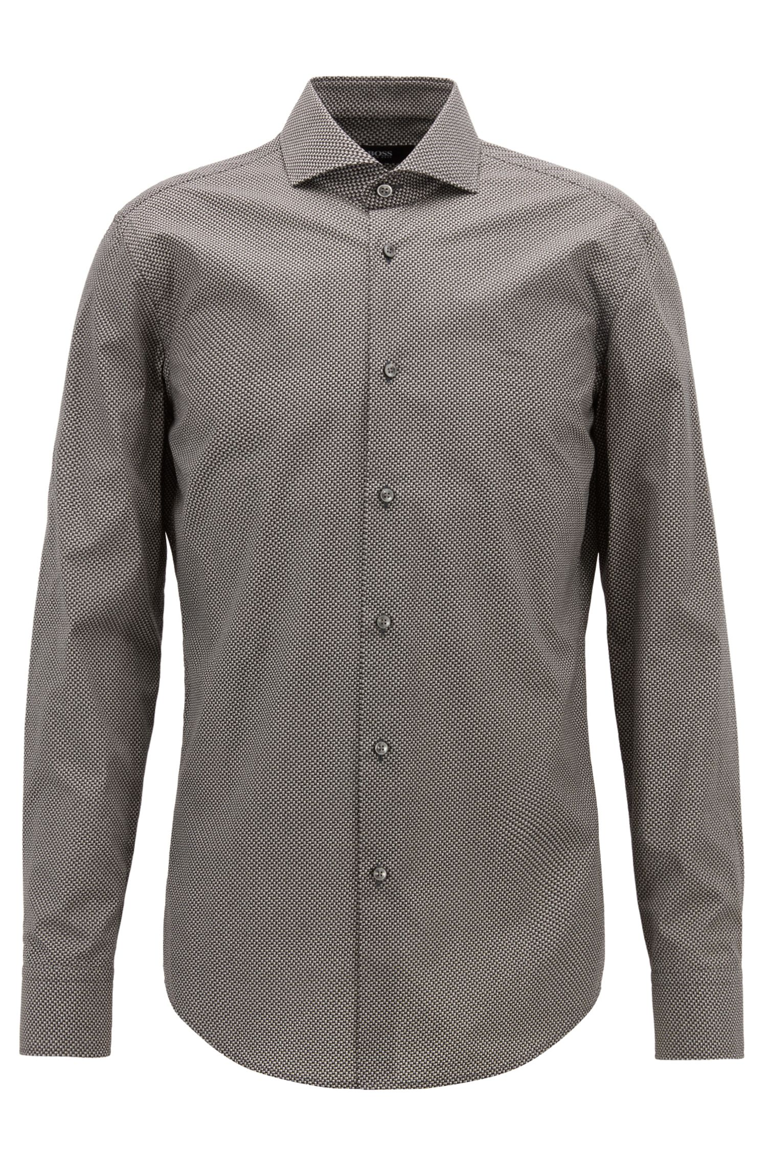 Slim-fit shirt in Italian cotton with printed motif